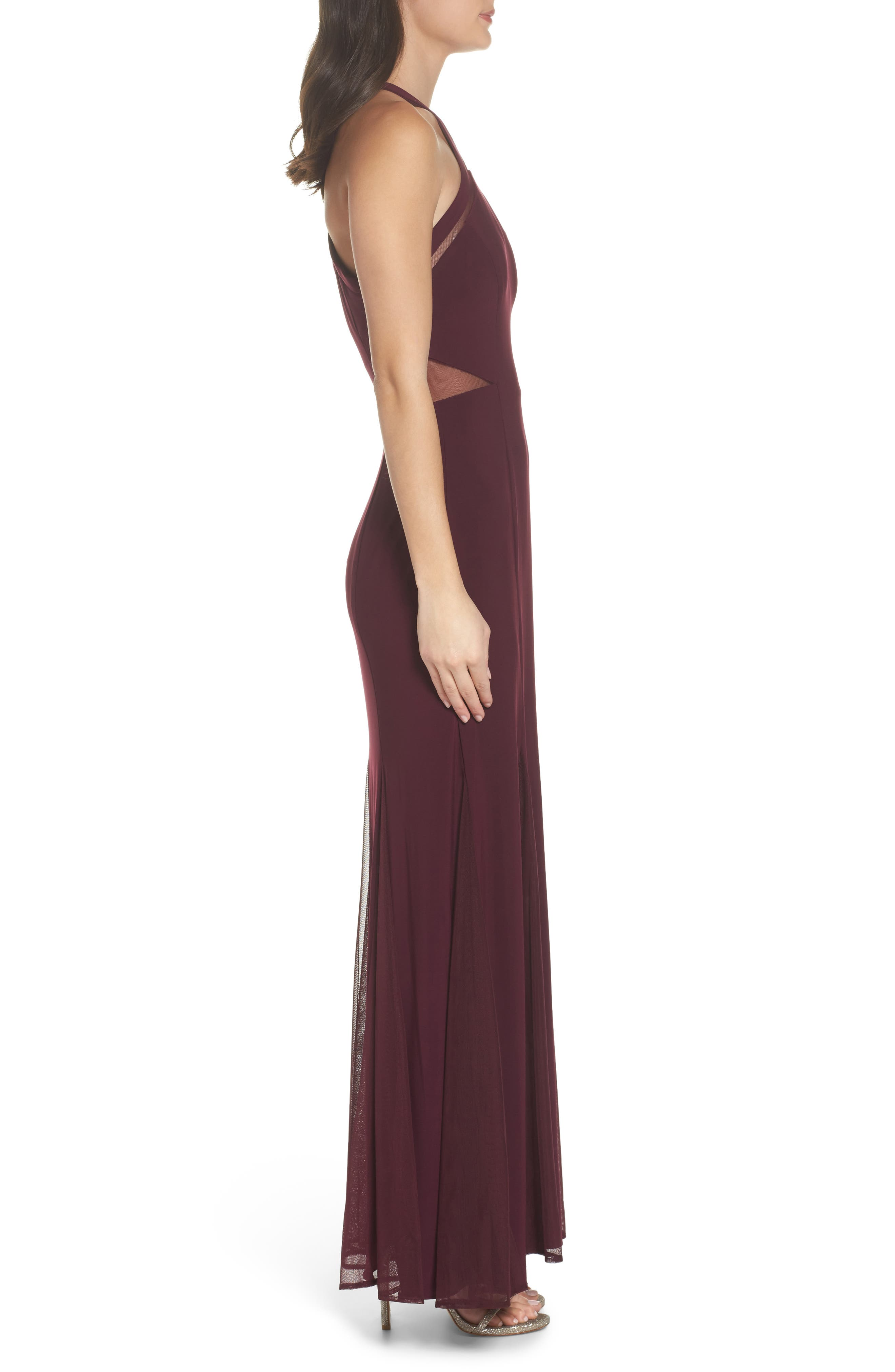 Mesh Inset Knit Mermaid Gown,                             Alternate thumbnail 3, color,                             Wine