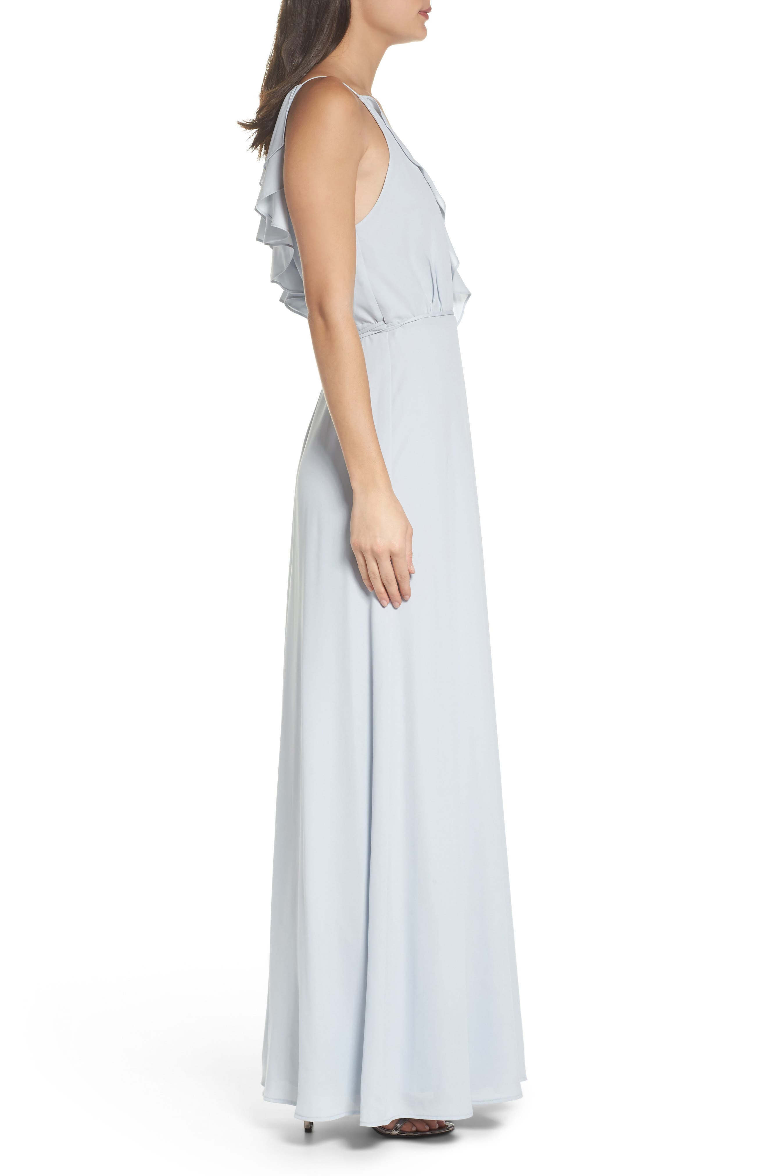 Jamie Ruffle Wrap Gown,                             Alternate thumbnail 3, color,                             Ocean Mist
