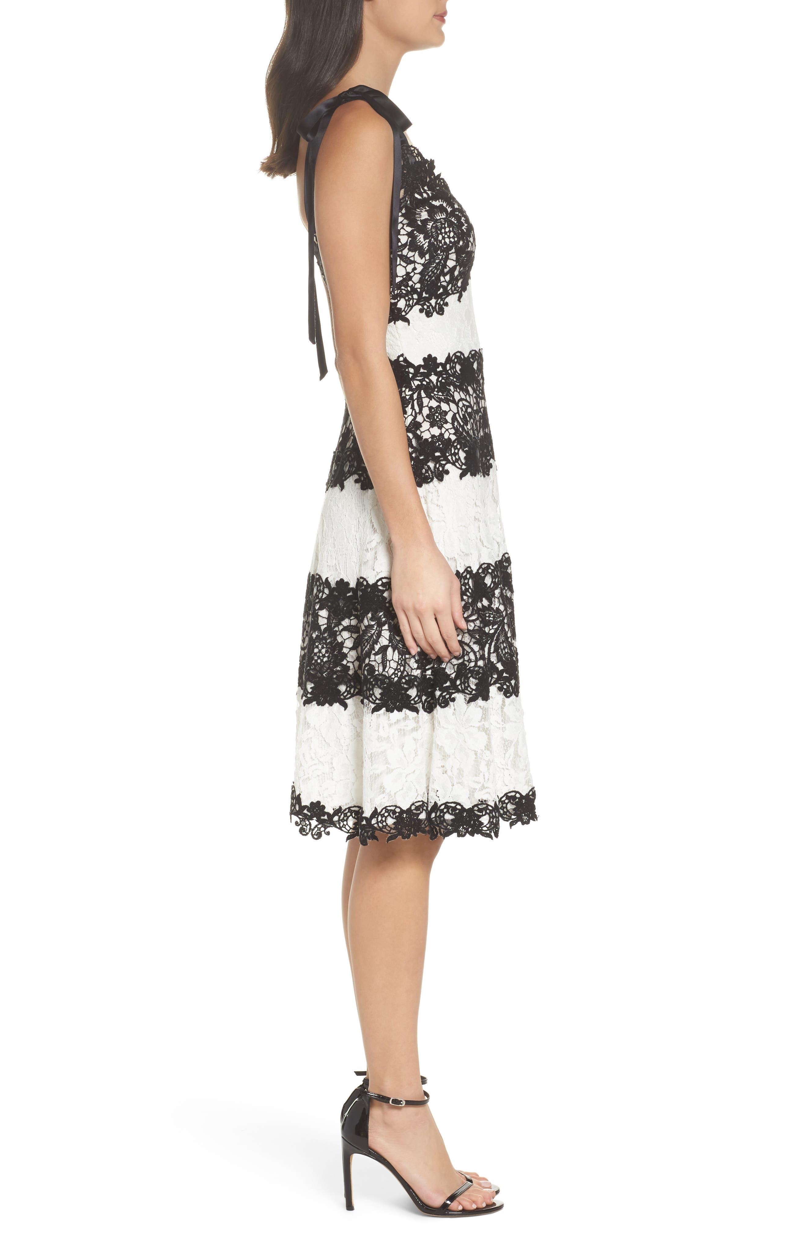 Sleeveless Lace Dress,                             Alternate thumbnail 3, color,                             Black/ Ivory