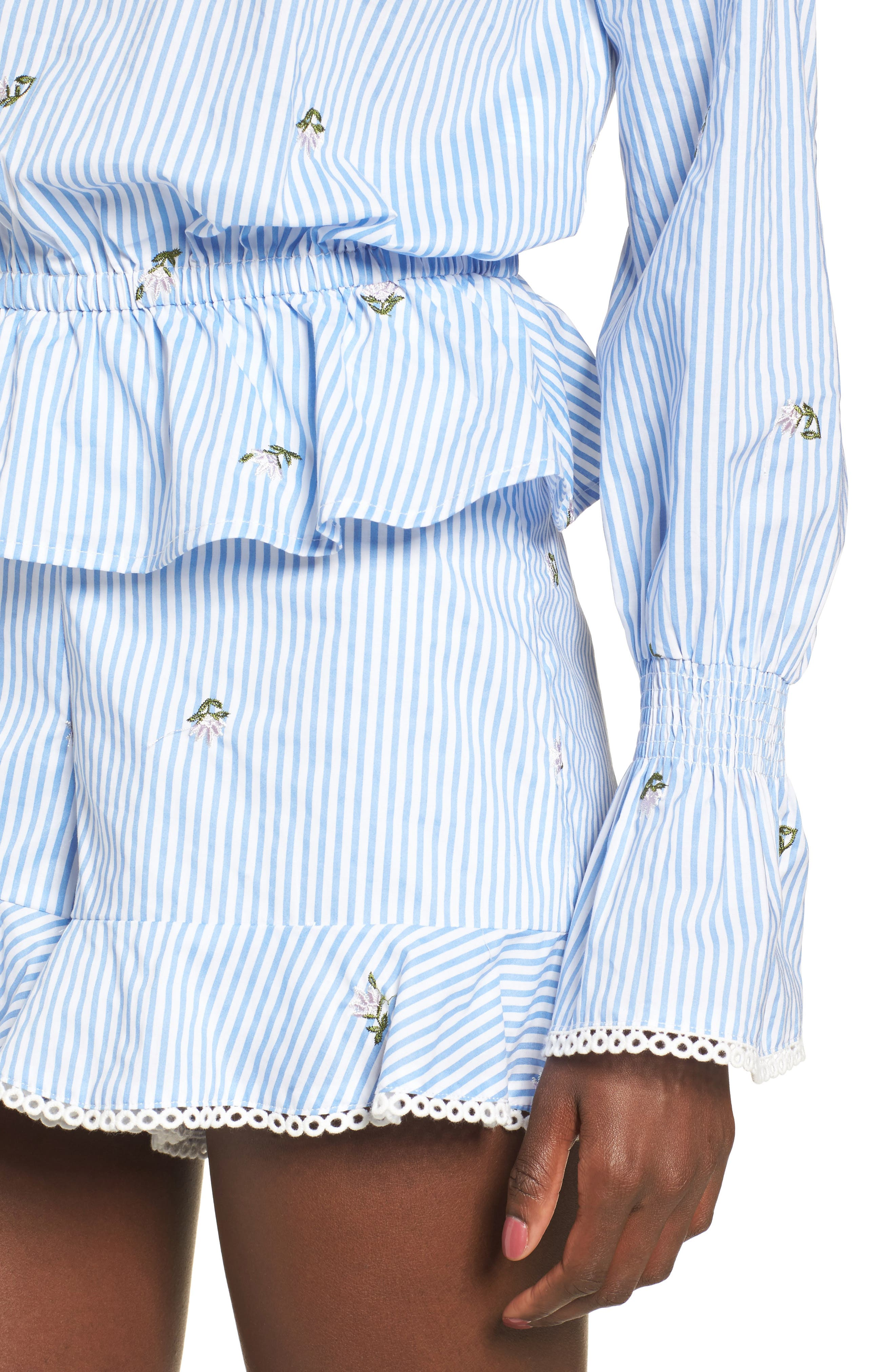 Embroidered Peplum Top,                             Alternate thumbnail 4, color,                             Blue/ Ivory Stripe