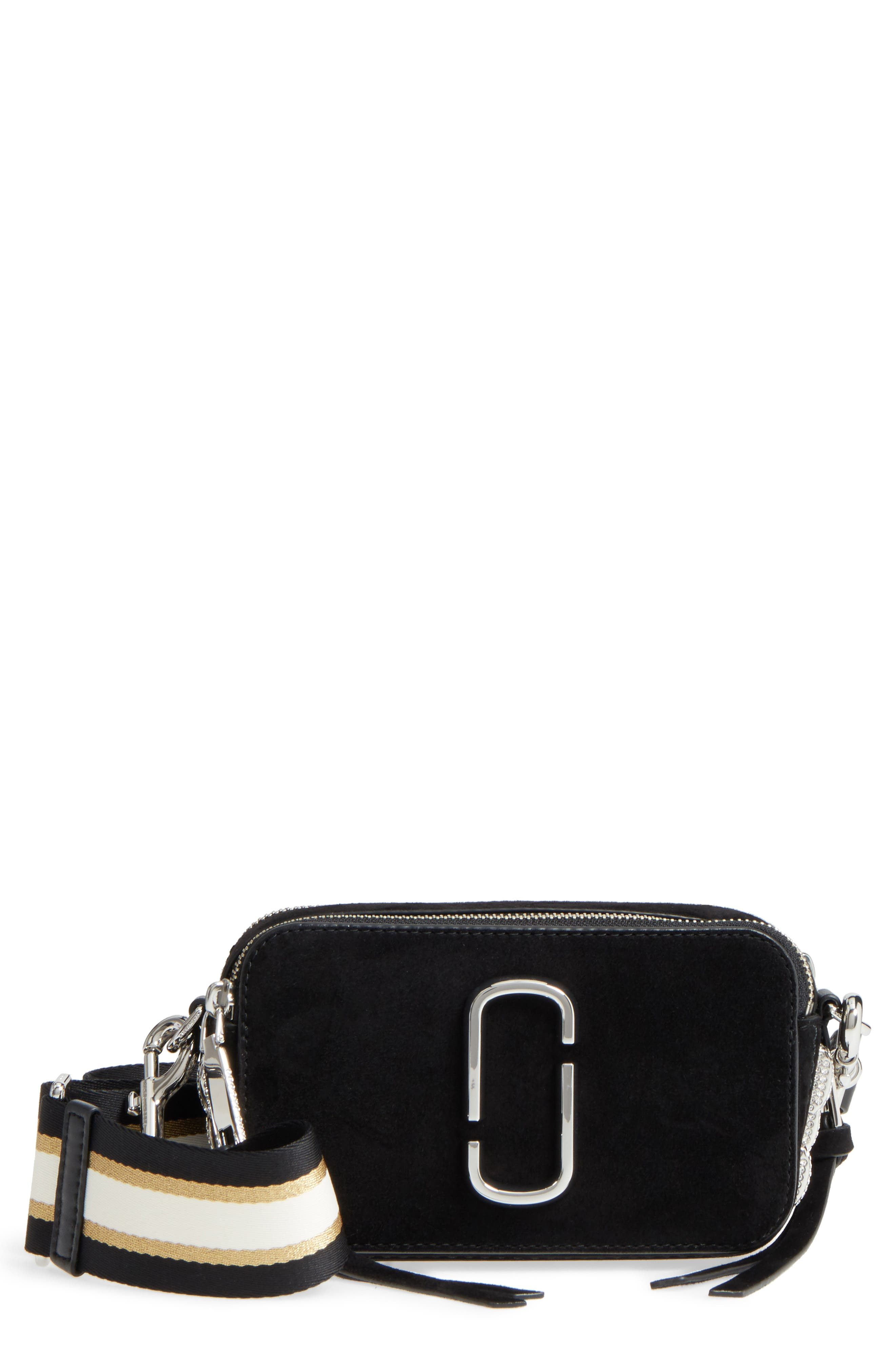 Snapshot Leather Pavé Chain Trim Crossbody Bag,                         Main,                         color, Black