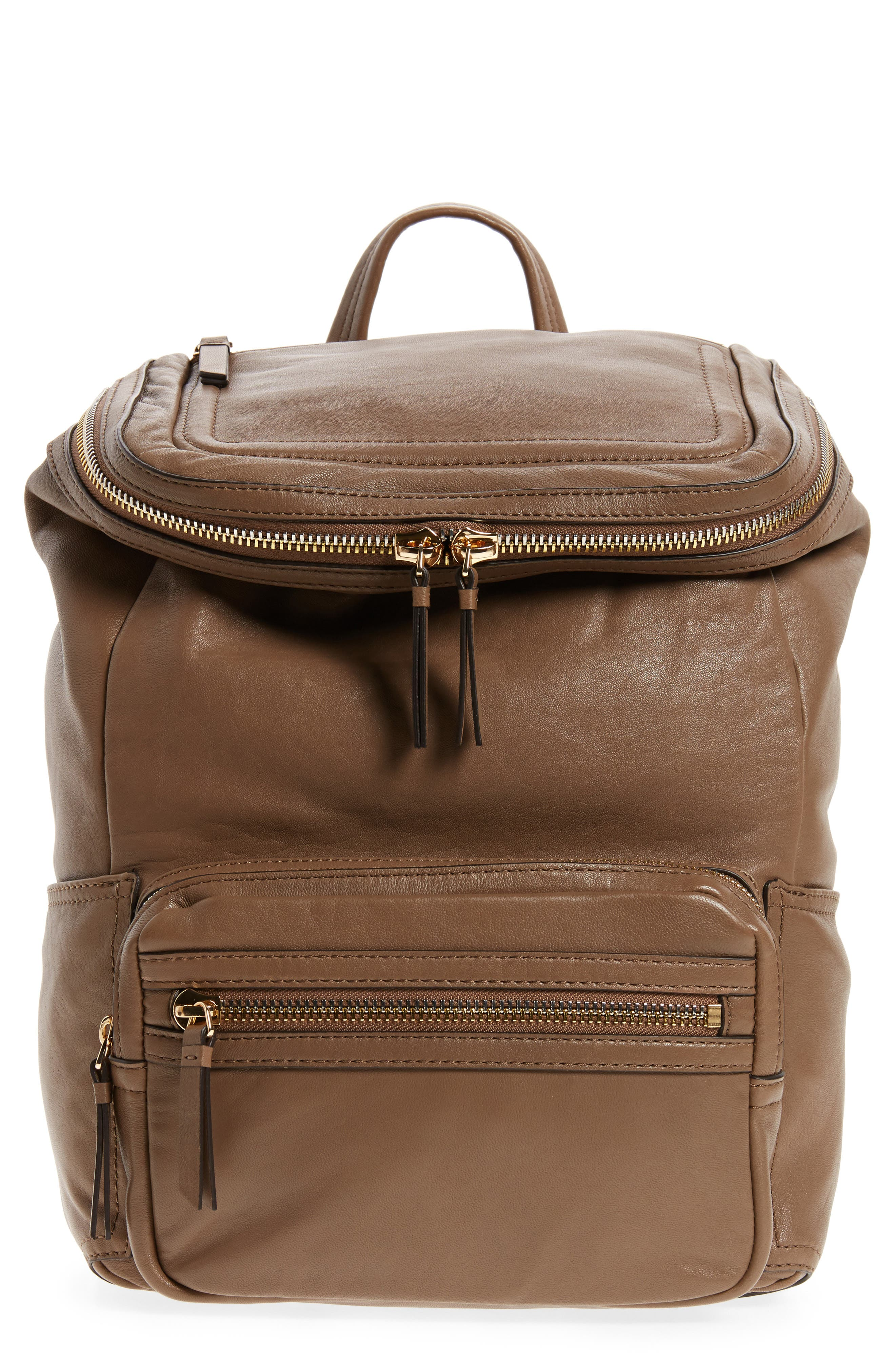 Patch Convertible Leather Backpack,                         Main,                         color, Foxy