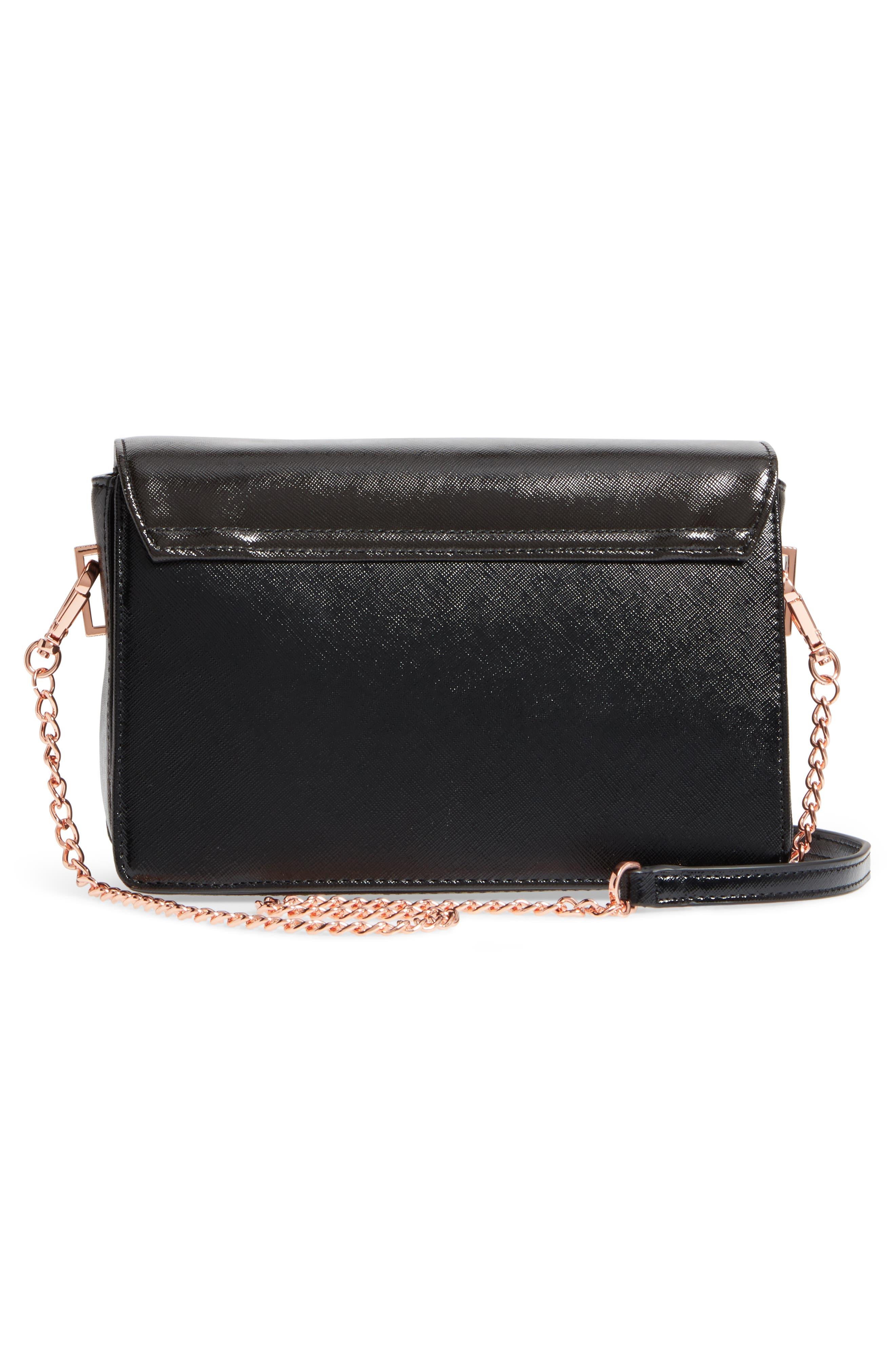 Jesenia Peach Blossom Faux Leather Crossbody Bag,                             Alternate thumbnail 3, color,                             Black