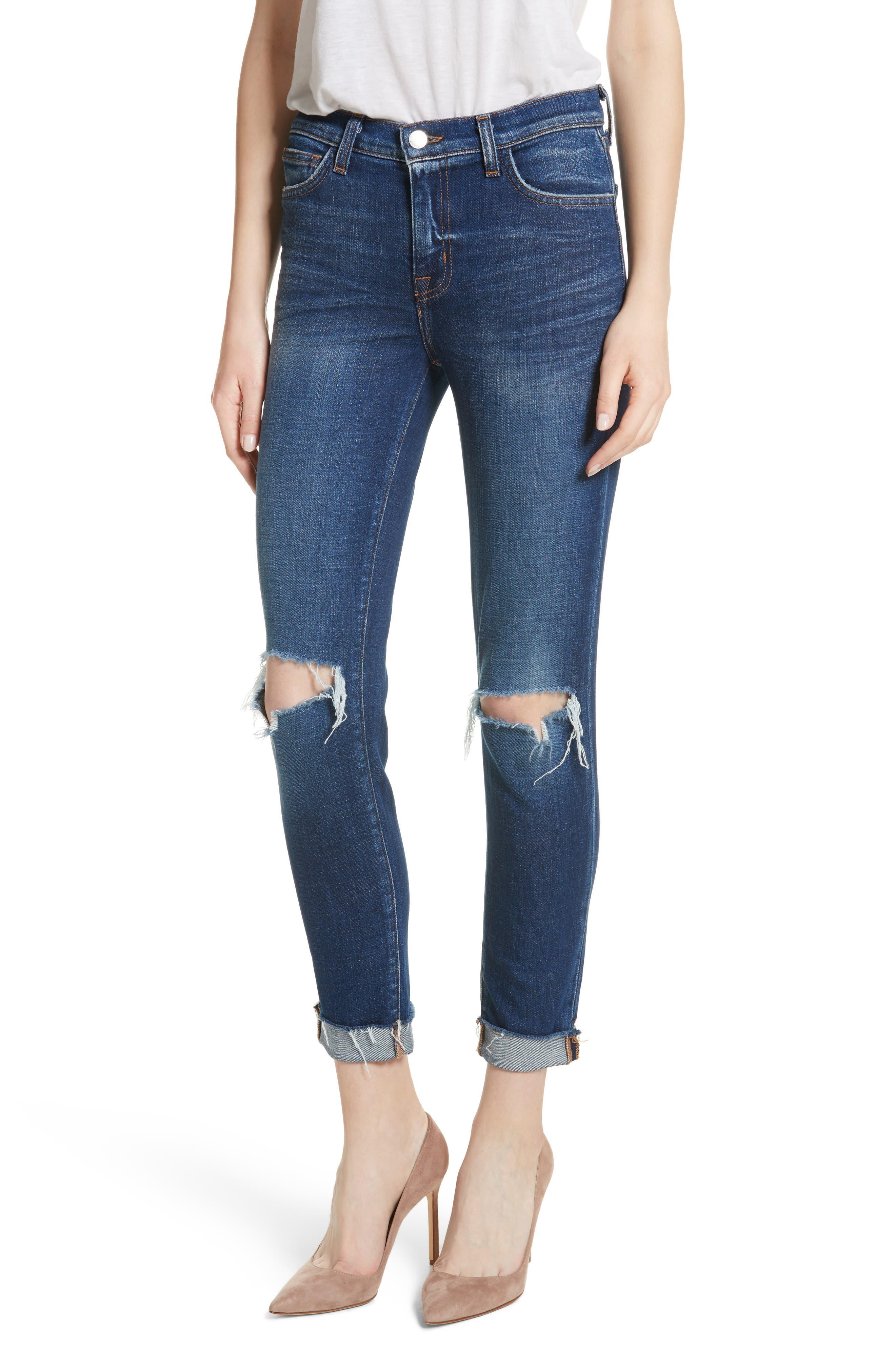 Main Image - L'AGENCE Rachel Ripped Crop Slim Fit Jeans (Diamond Destruct)