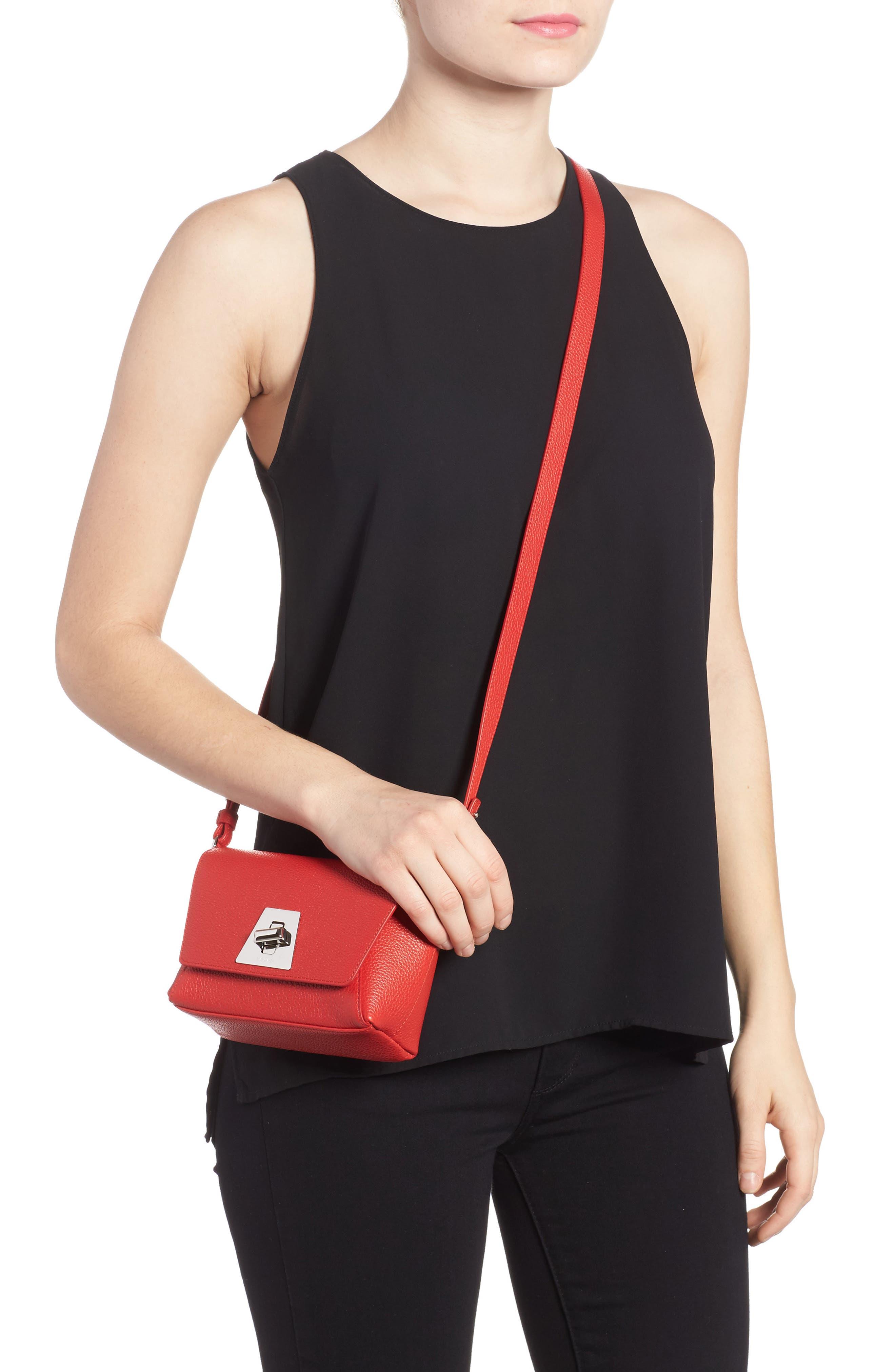 Little Anouk Calfskin Crossbody Bag,                             Alternate thumbnail 2, color,                             Scarlet