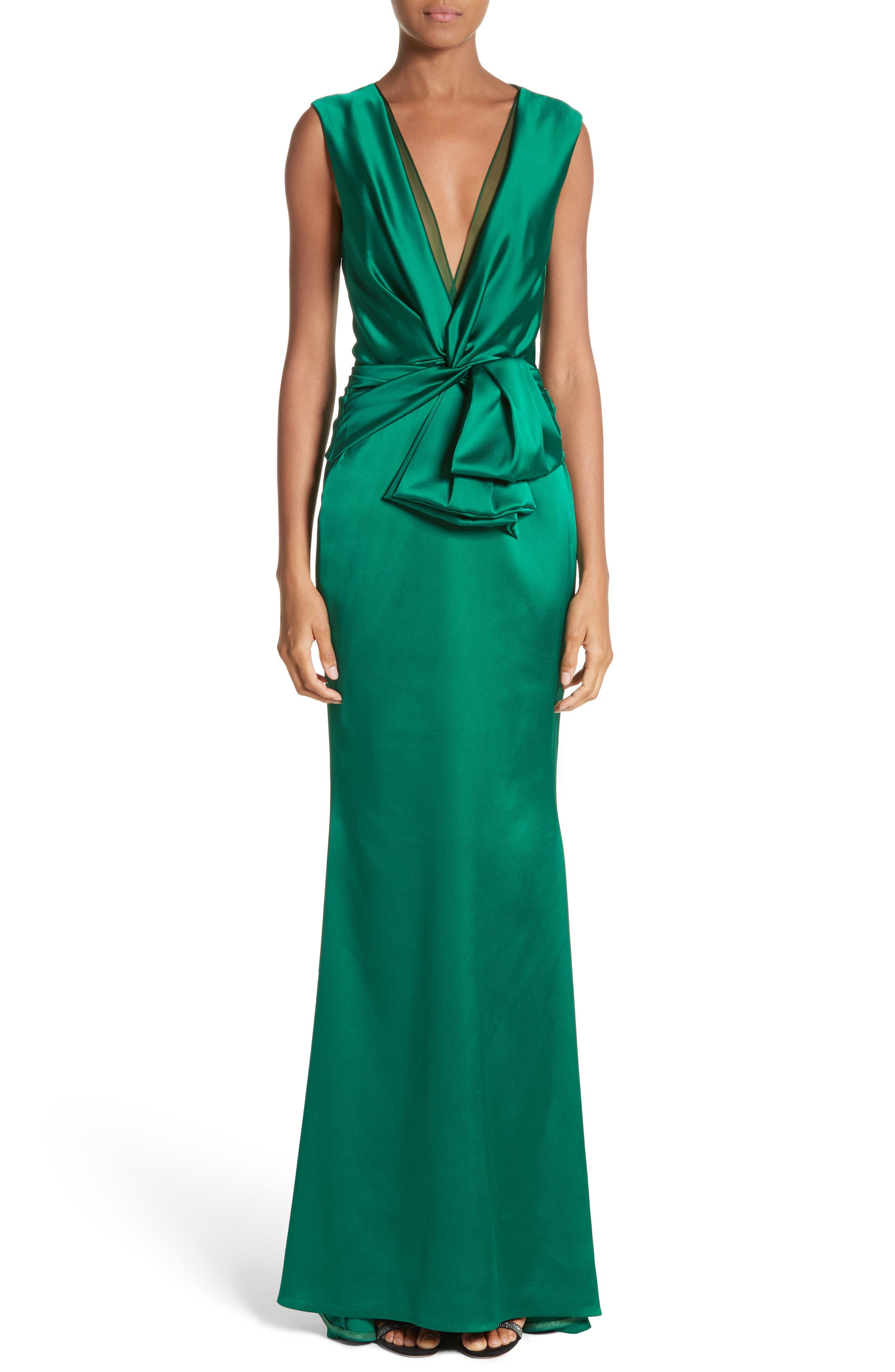 Crepe Satin V-Neck Gown,                         Main,                         color, Emerald