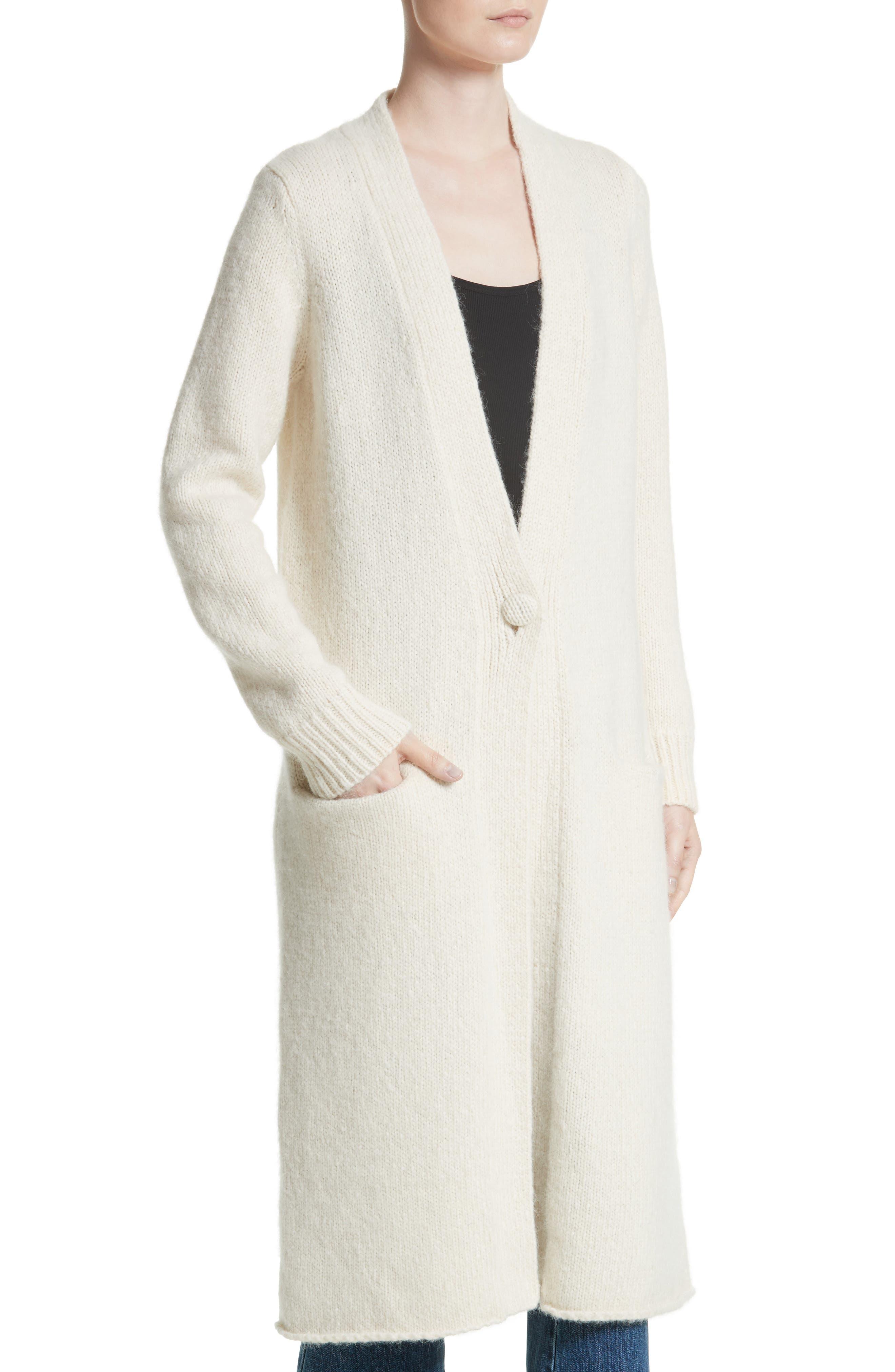 Long Alpaca Blend Button Cardigan,                             Alternate thumbnail 4, color,                             Ivory