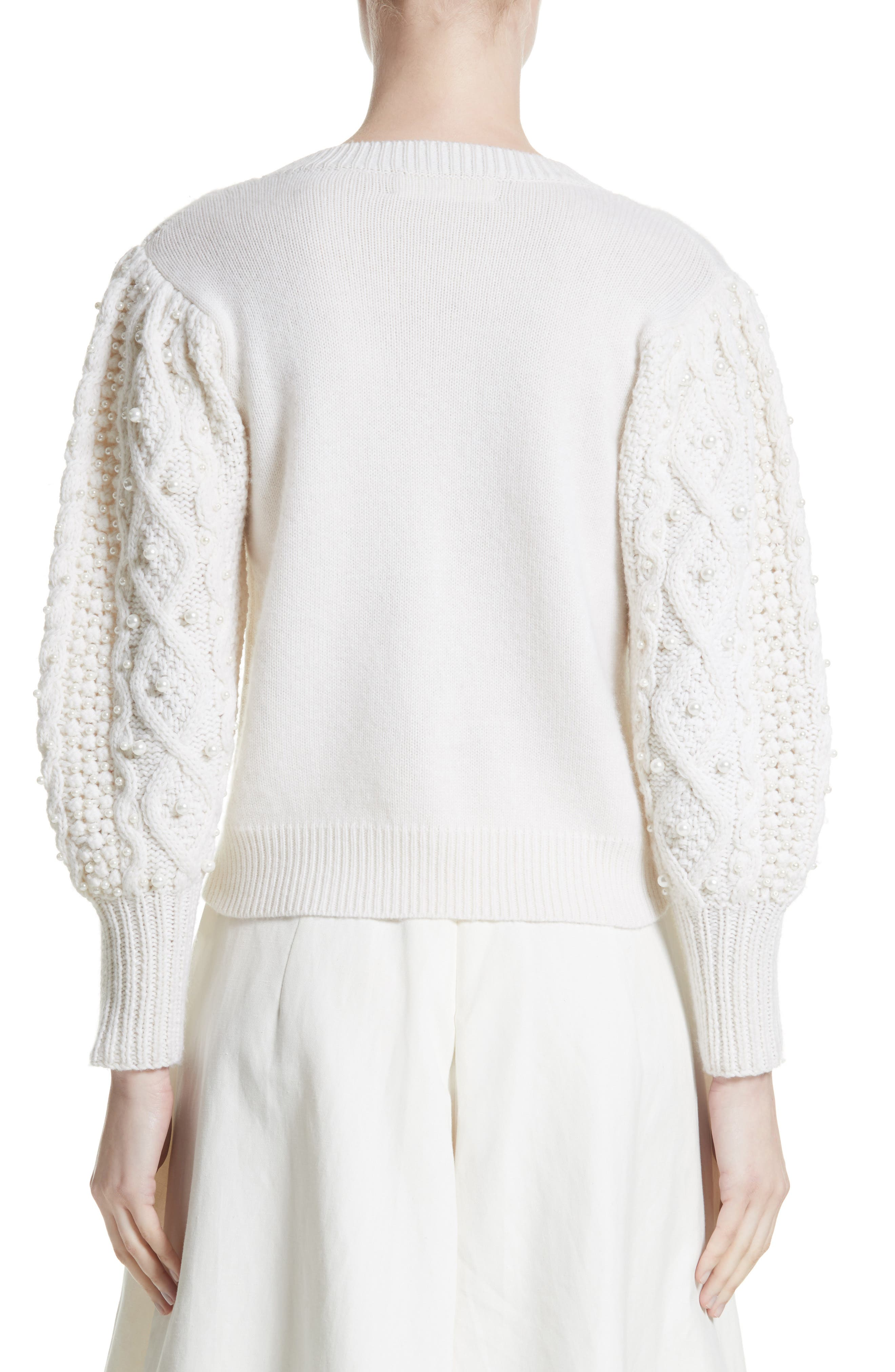Imitation Pearl Embellished Wool & Cashmere Sweater,                             Alternate thumbnail 2, color,                             Ivory