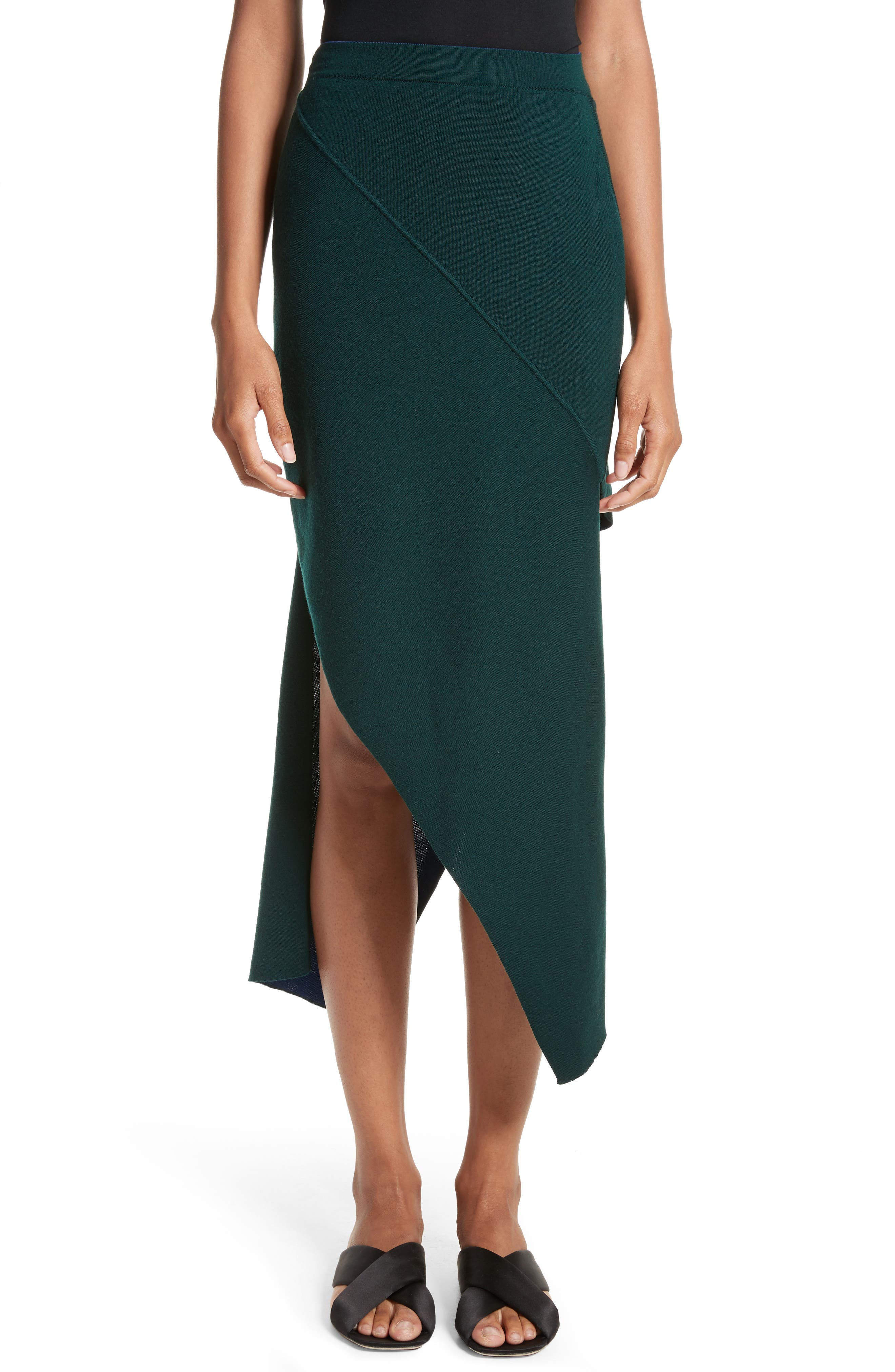 Reversible Asymmetrical Knit Midi Skirt,                         Main,                         color, Ivy/ Lapis