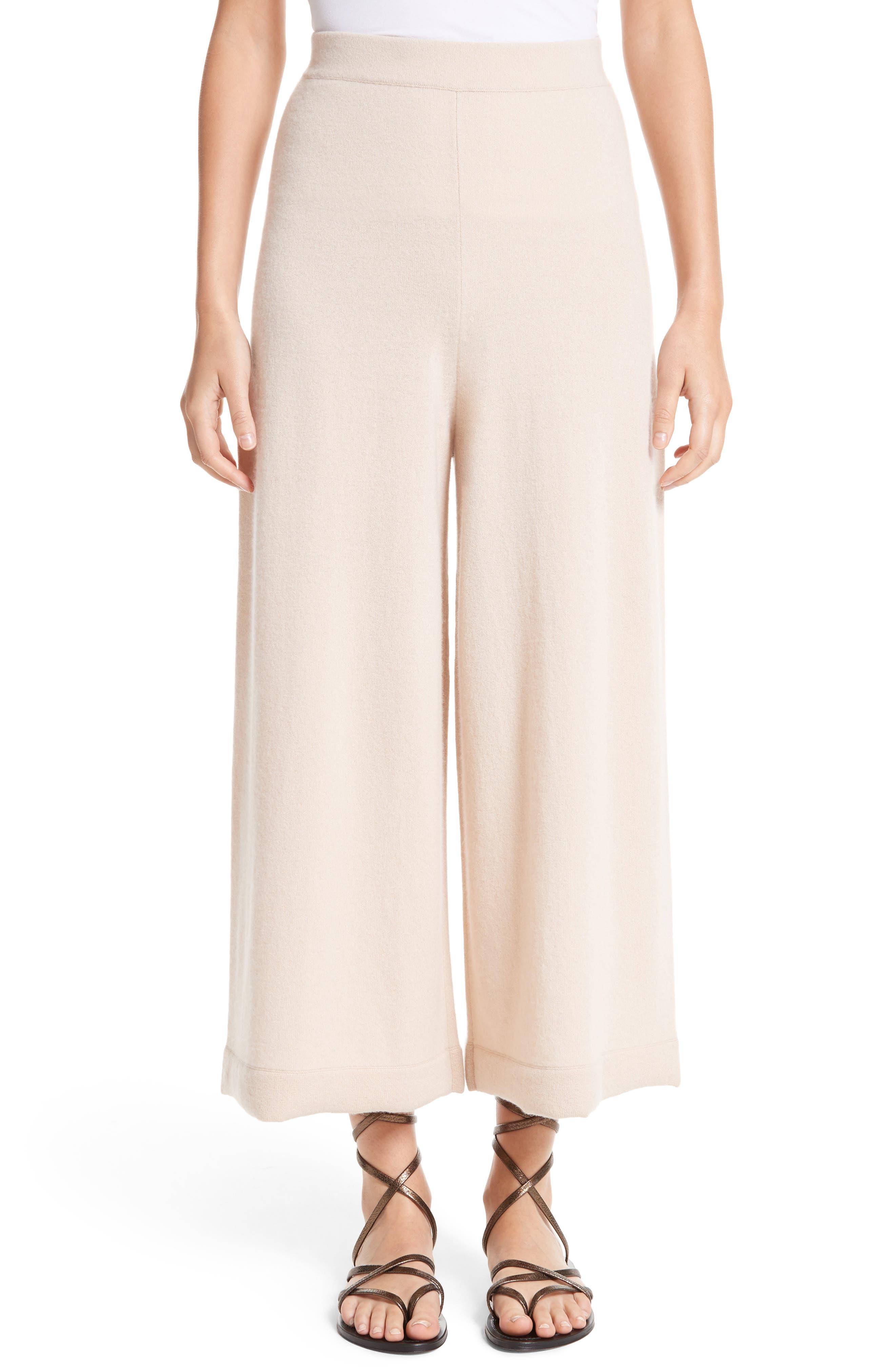 Main Image - Rosetta Getty Cashmere Crop Wide Leg Pants