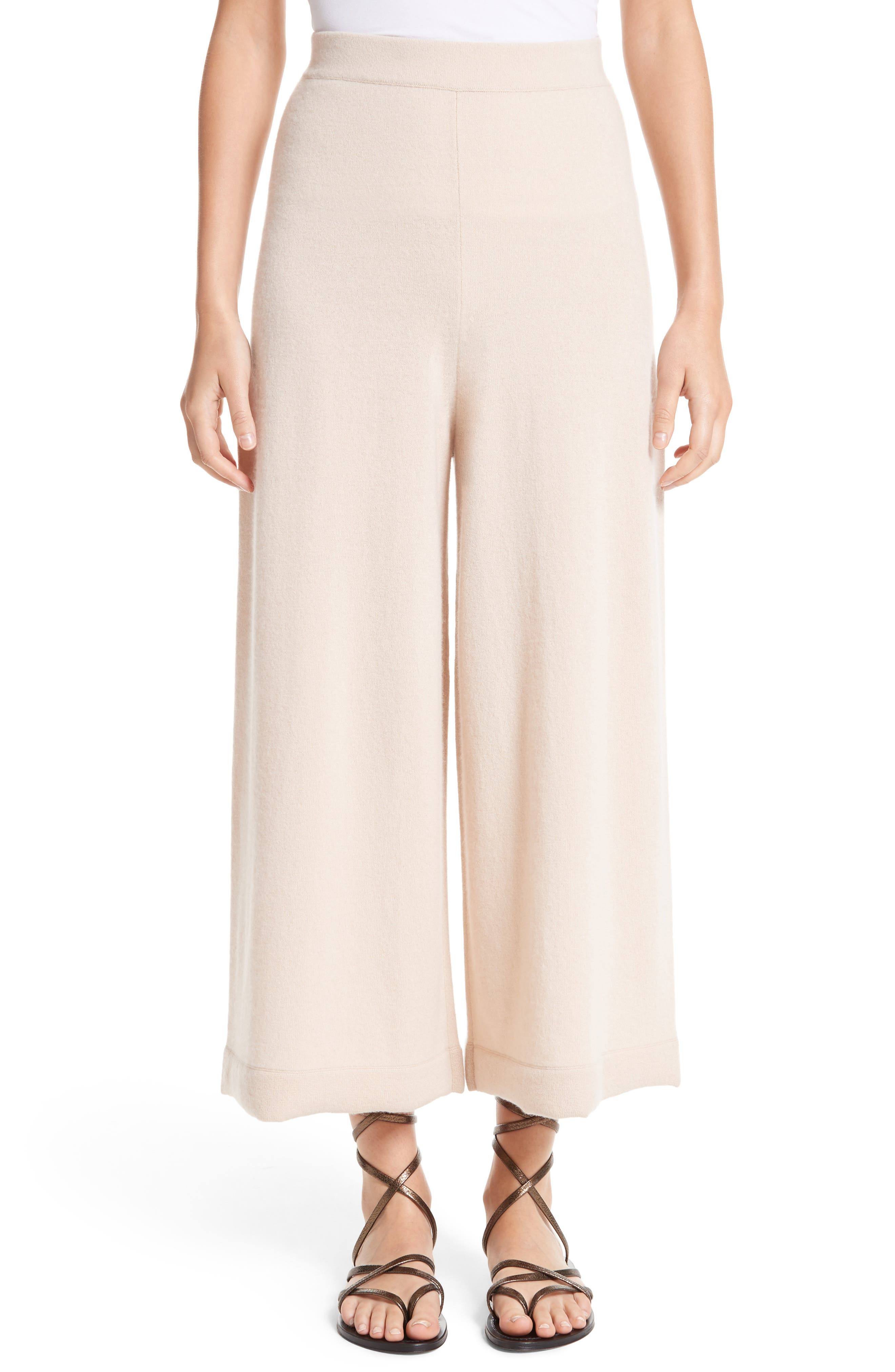Cashmere Crop Wide Leg Pants,                         Main,                         color, Fawn