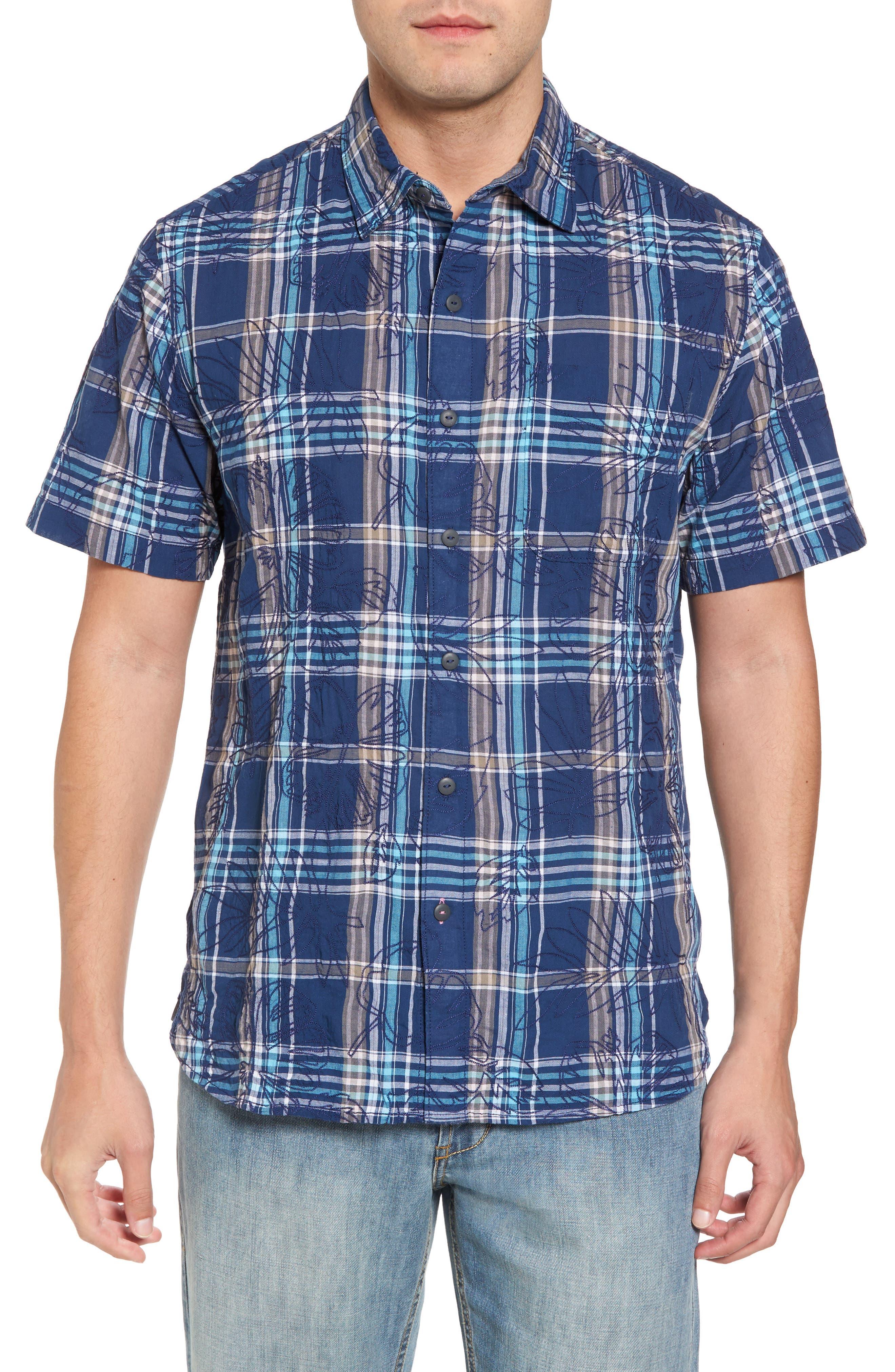 Pallazo Plaid Sport Shirt,                         Main,                         color, Dockside Blue