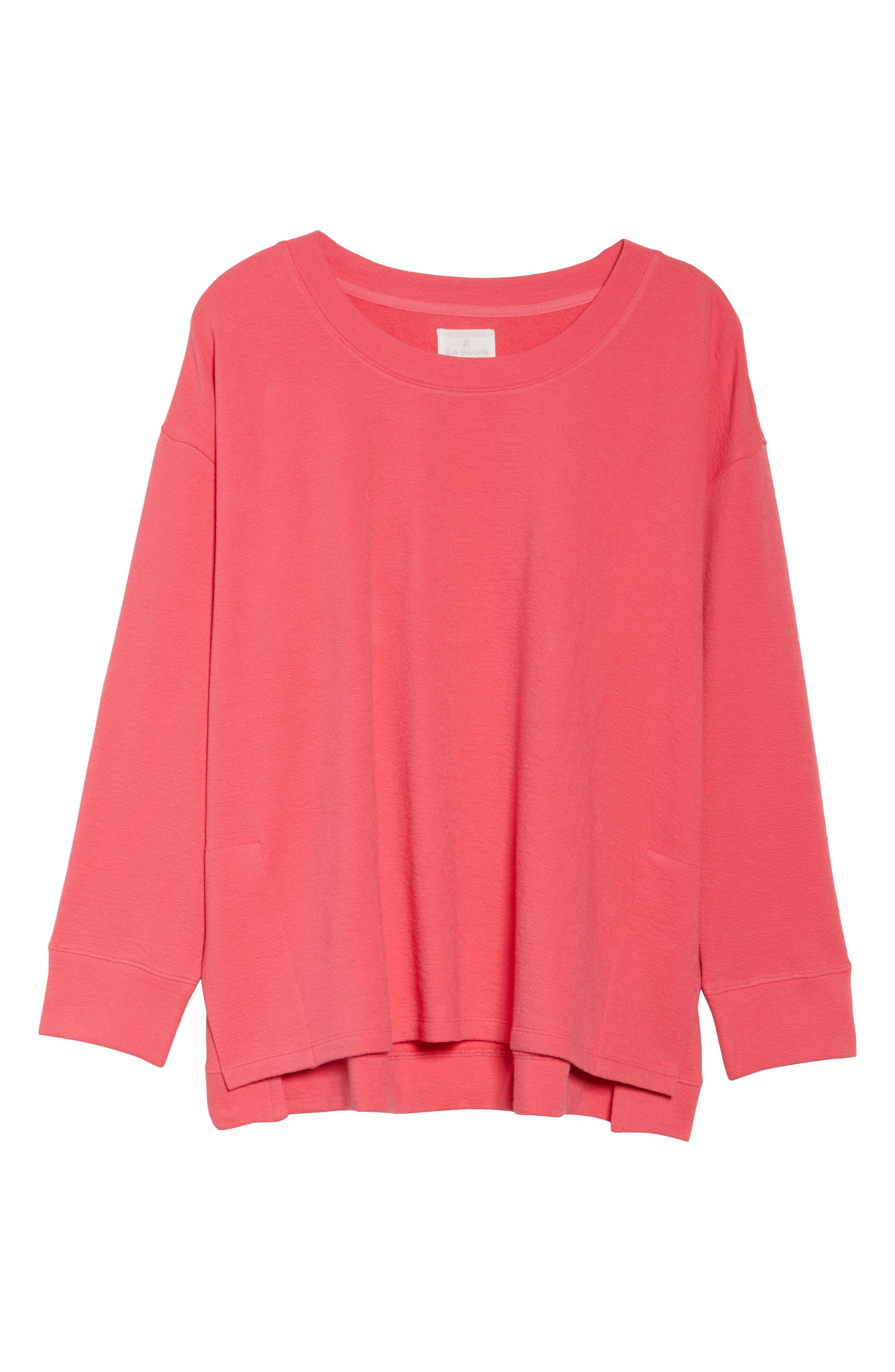 Side Slit Sweatshirt,                         Main,                         color, Pink Ribbon