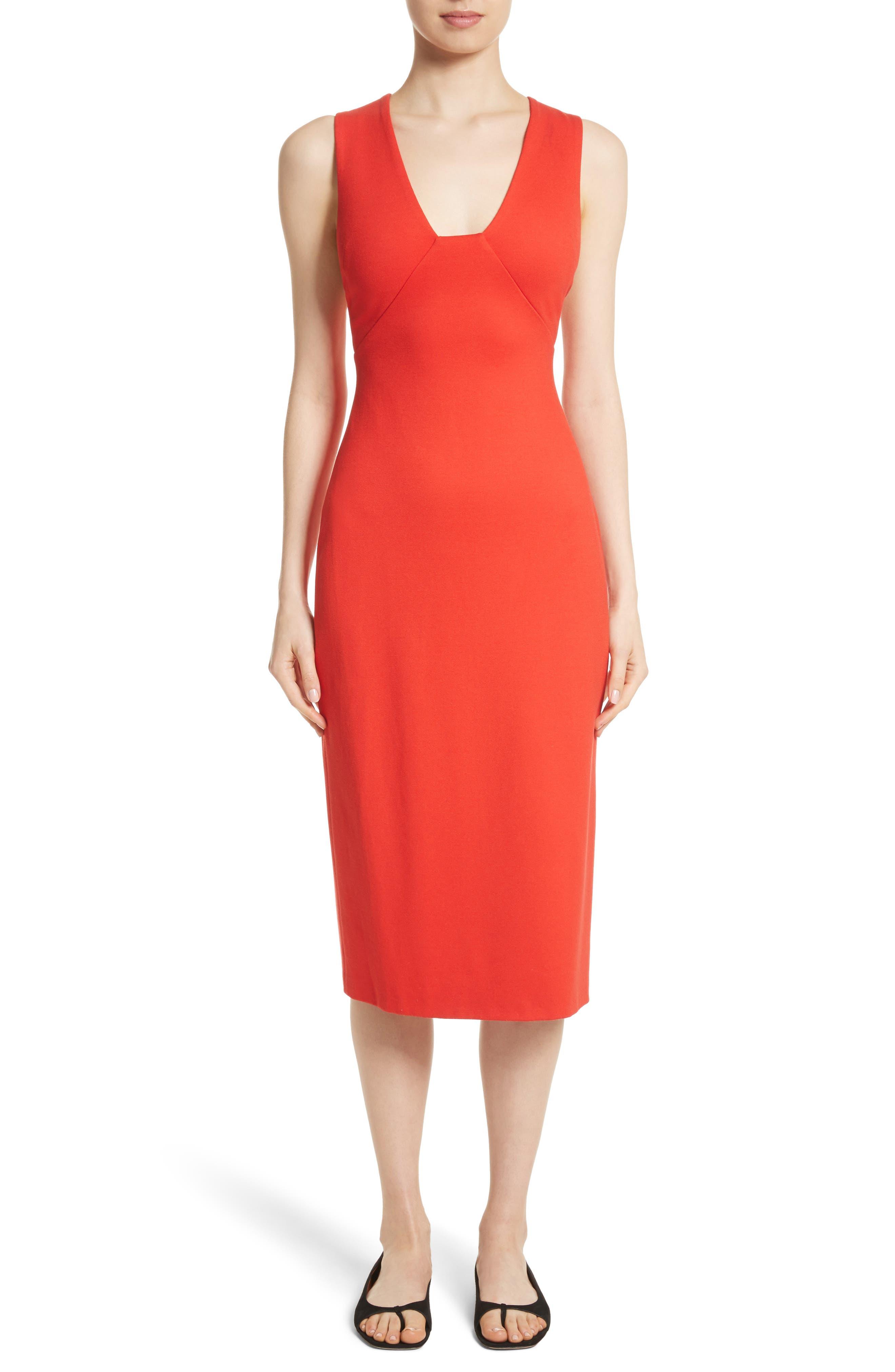 Crossback Sheath Dress,                         Main,                         color, Scarlet