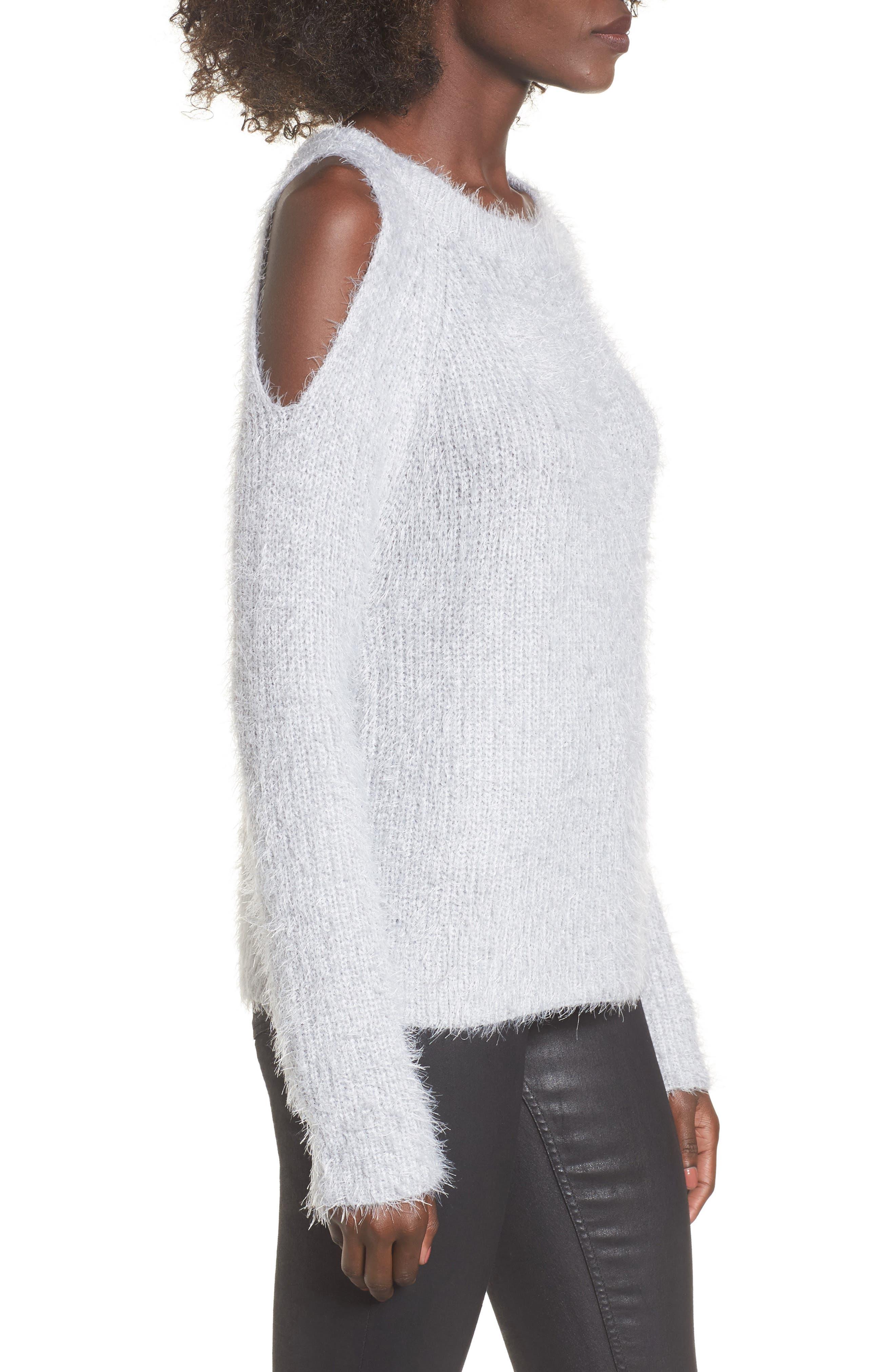 Cold Shoulder Sweater,                             Alternate thumbnail 3, color,                             Light Purple Grey