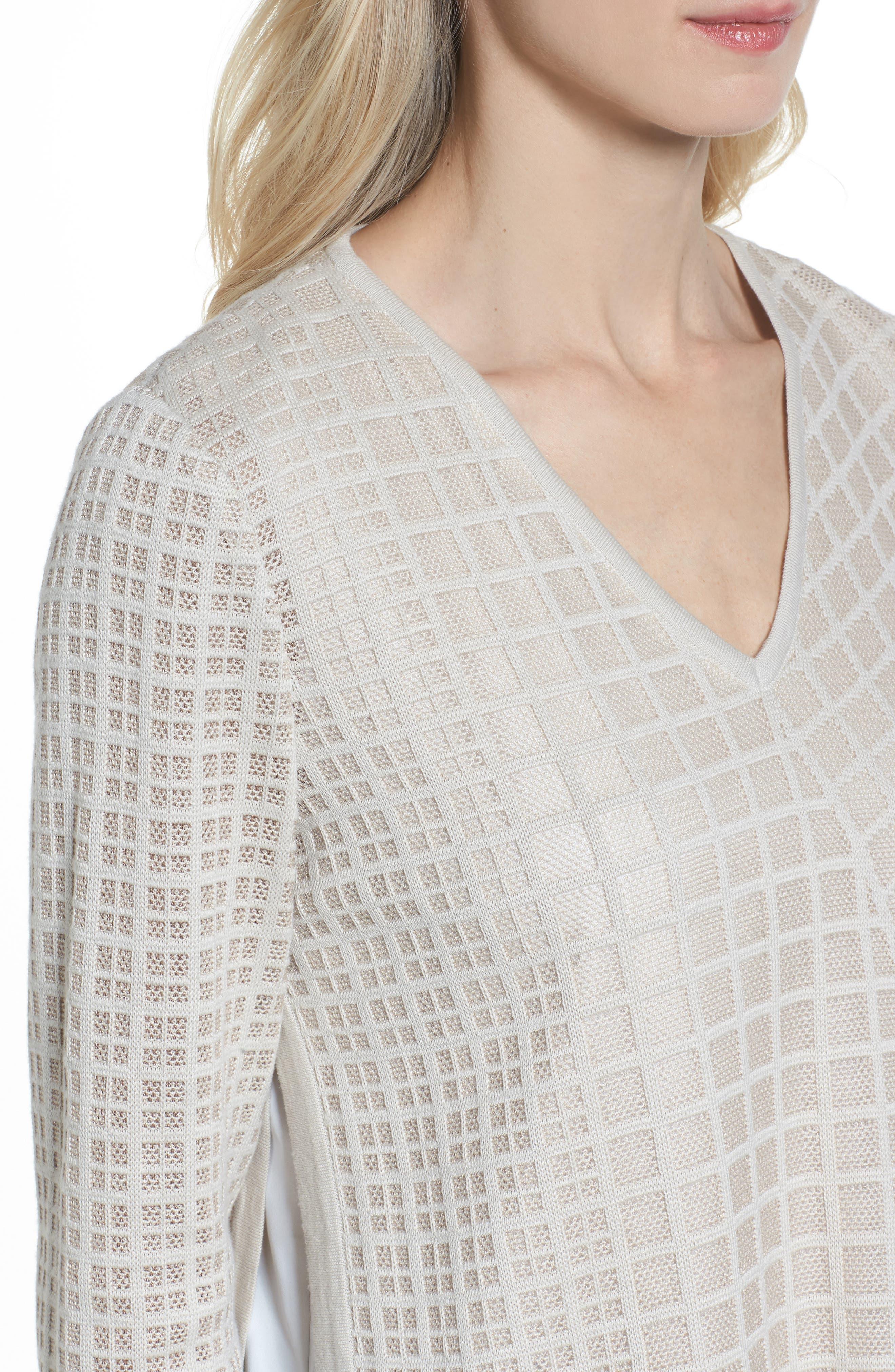 Alternate Image 4  - Ming Wang V-Neck Windowpane Sweater