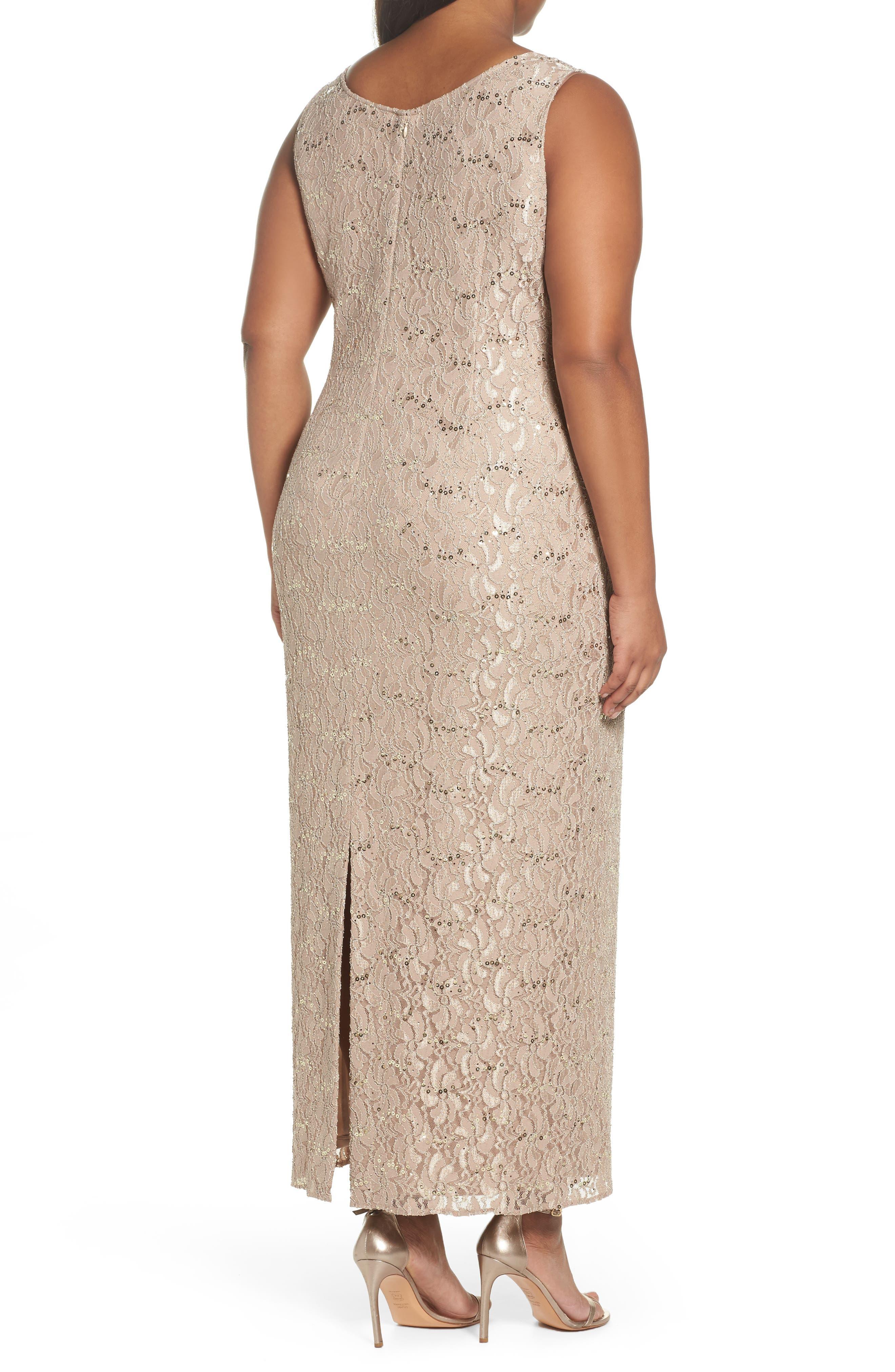 Sequin Lace Gown & Jacket,                             Alternate thumbnail 3, color,                             Champagne