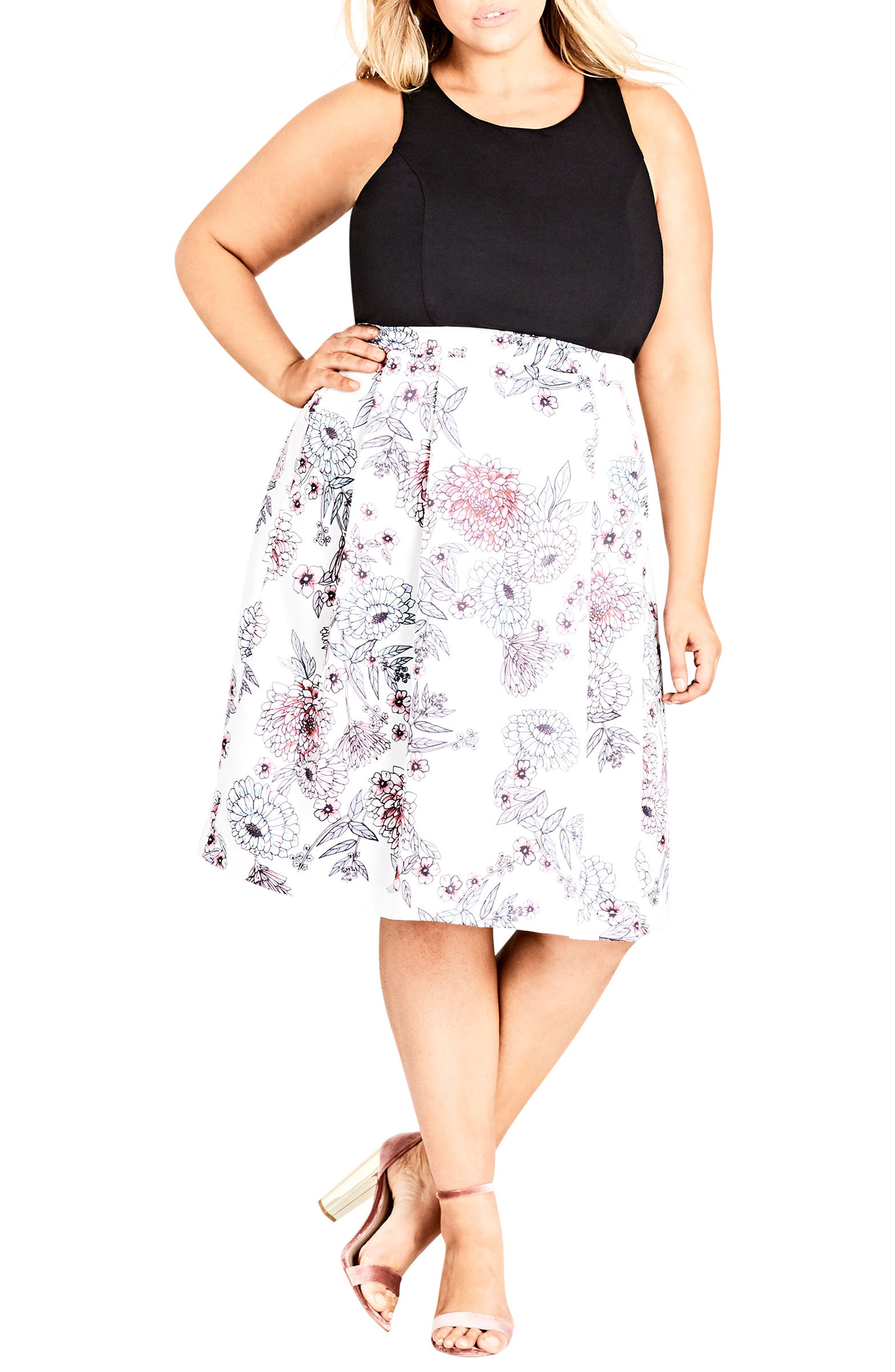 Main Image - City Chic Spring Affair Fit & Flare Dress (Plus Size)