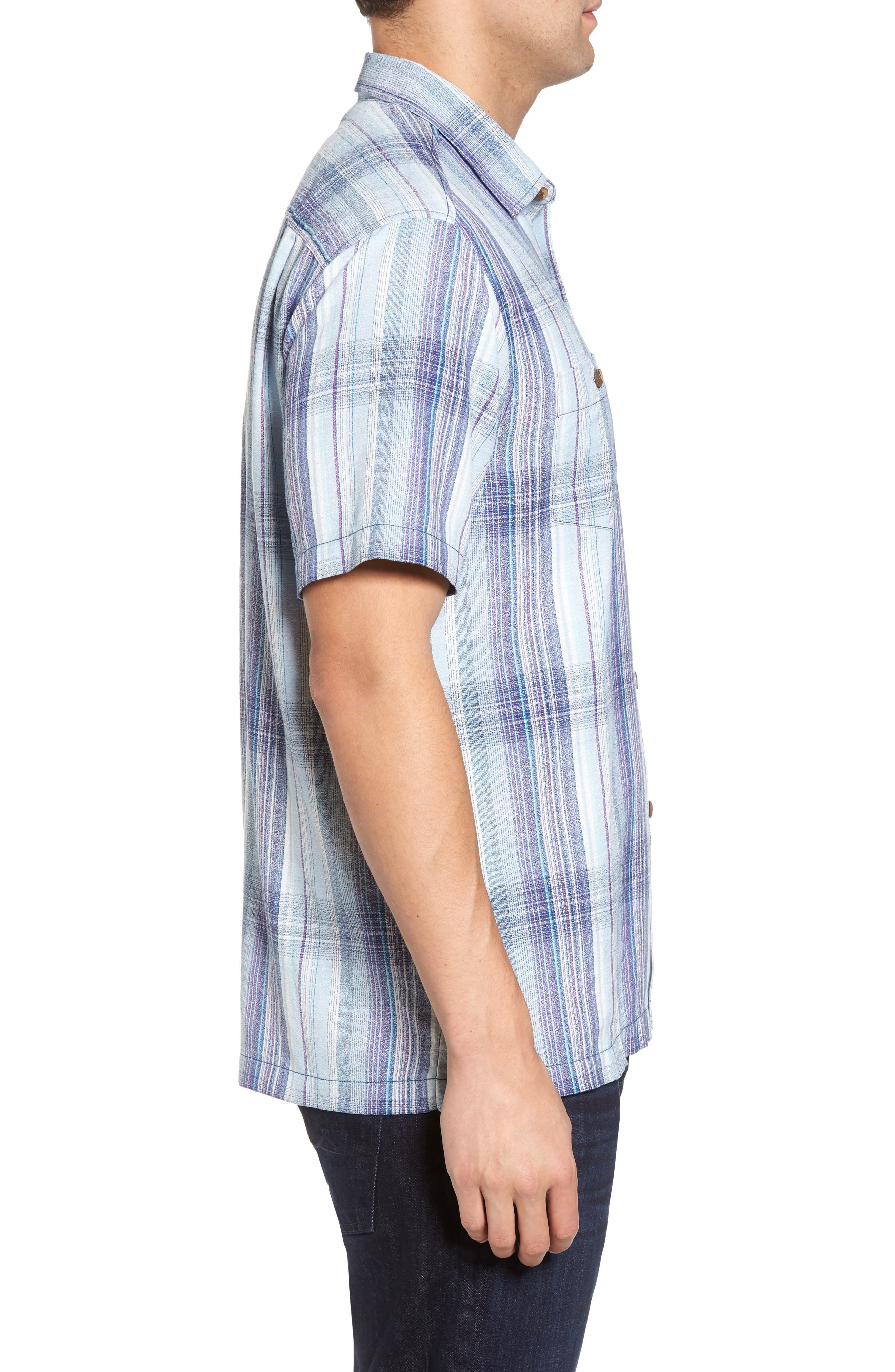 Banyan Cay Regular Fit Silk Blend Sport Shirt,                             Alternate thumbnail 3, color,                             Dockside Blue