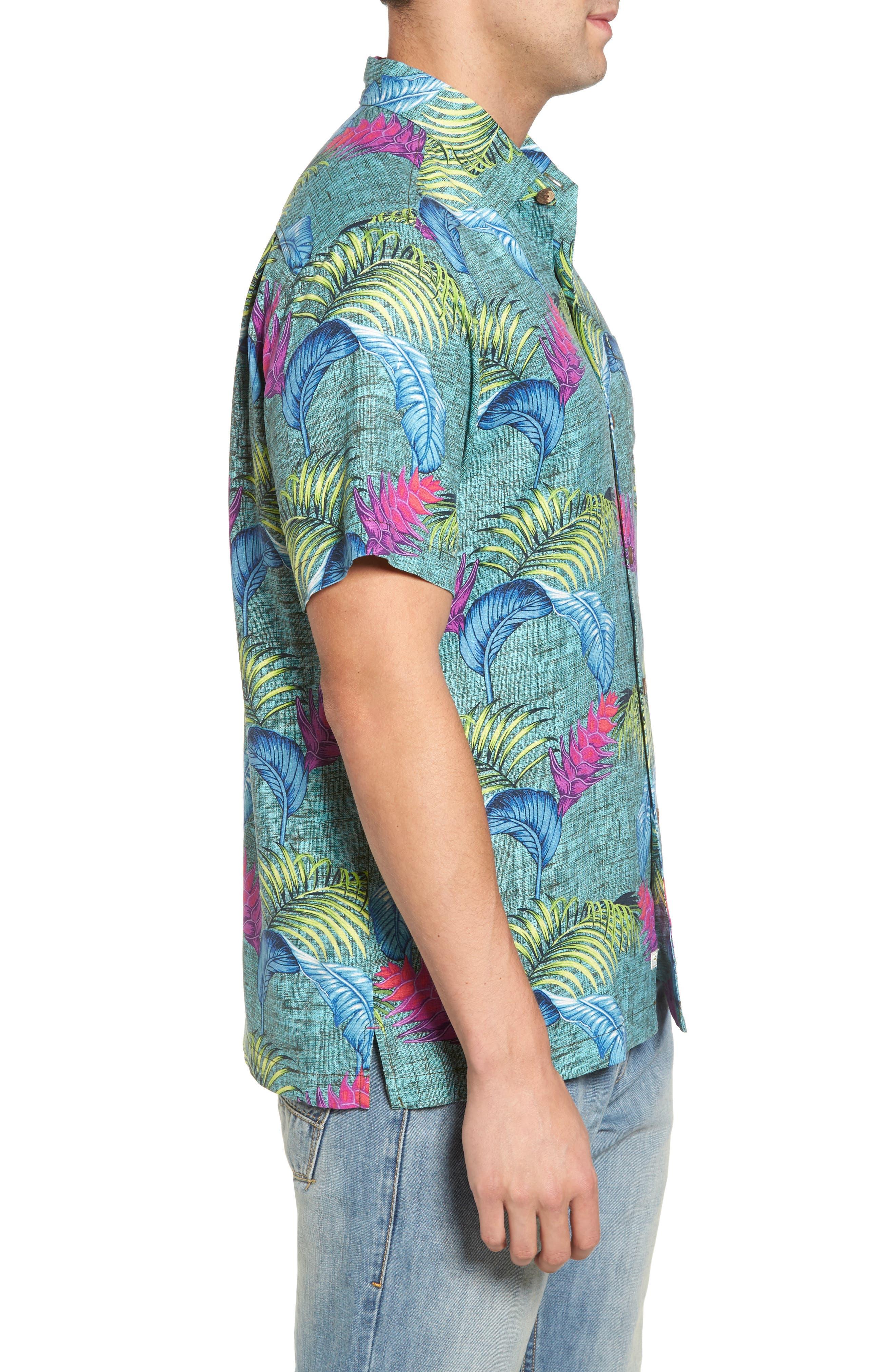 Boca Bouquet Silk Camp Shirt,                             Alternate thumbnail 3, color,                             Grand Canal