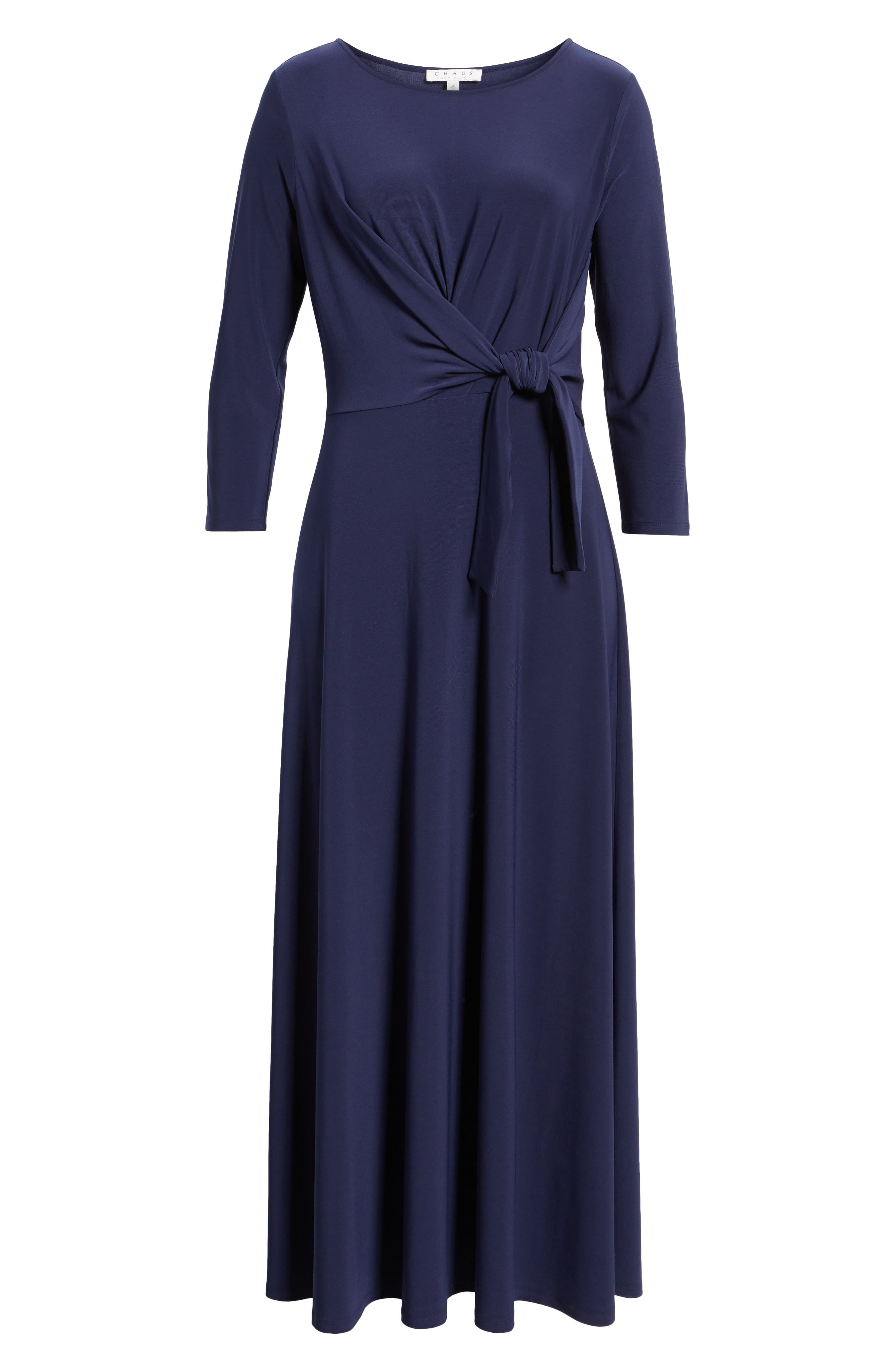 Cahus Faux Wrap Midi Dress,                             Alternate thumbnail 6, color,                             Evening Na