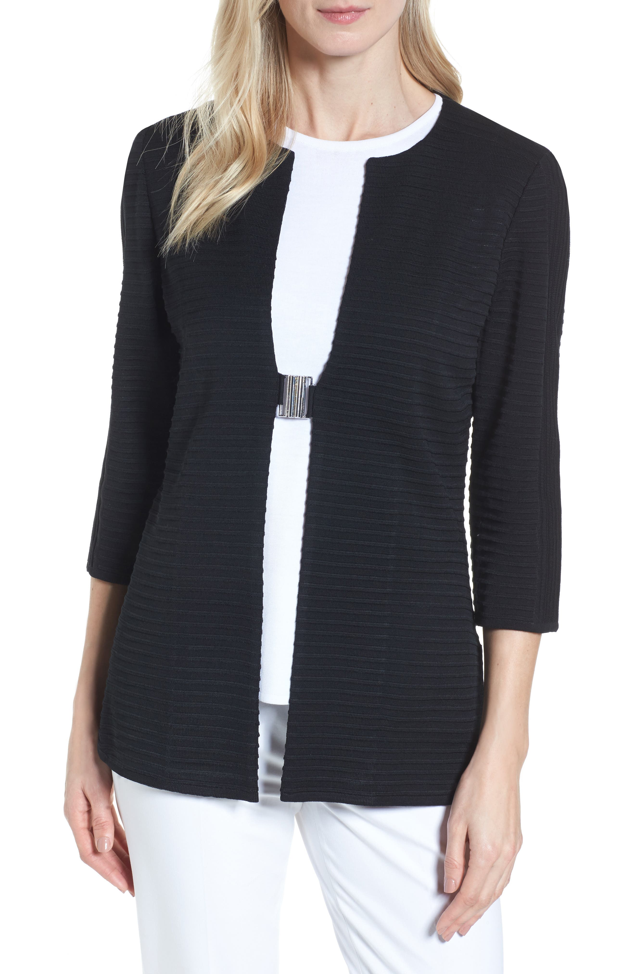 Ming Wang Ribbed Knit Jacket