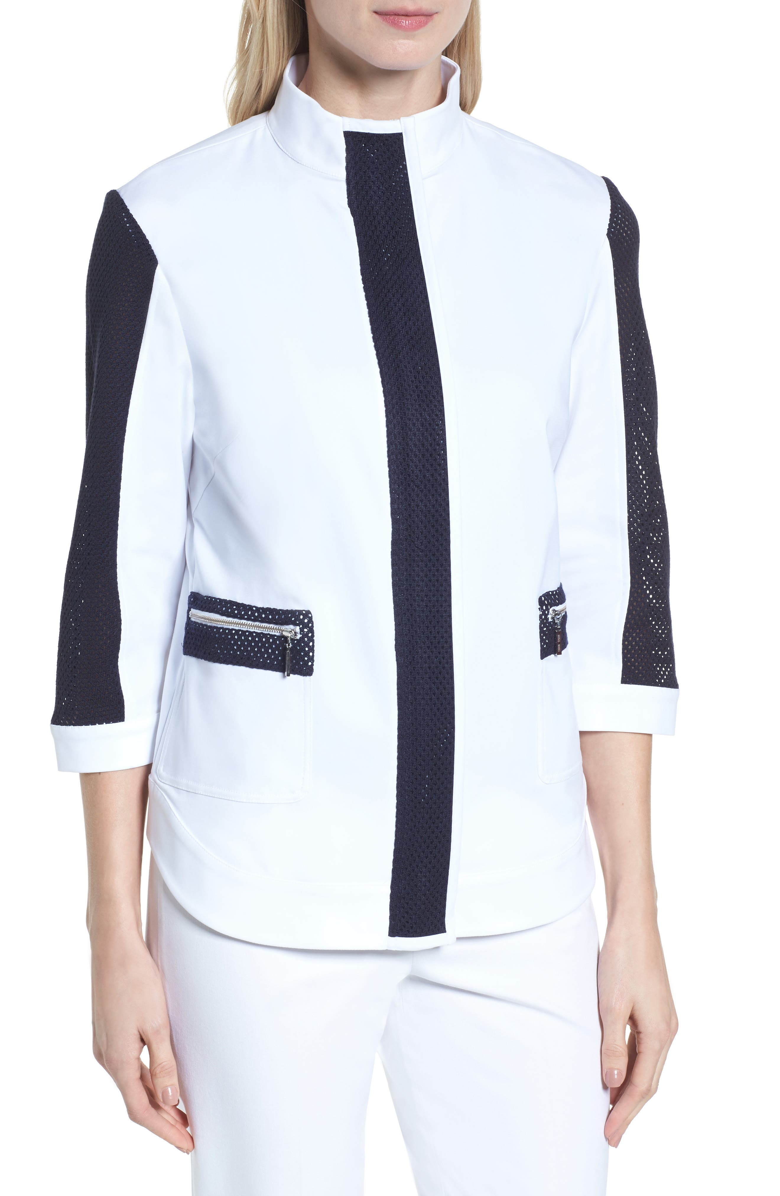 Mesh Trim Woven Jacket,                             Alternate thumbnail 4, color,                             White/ Navy