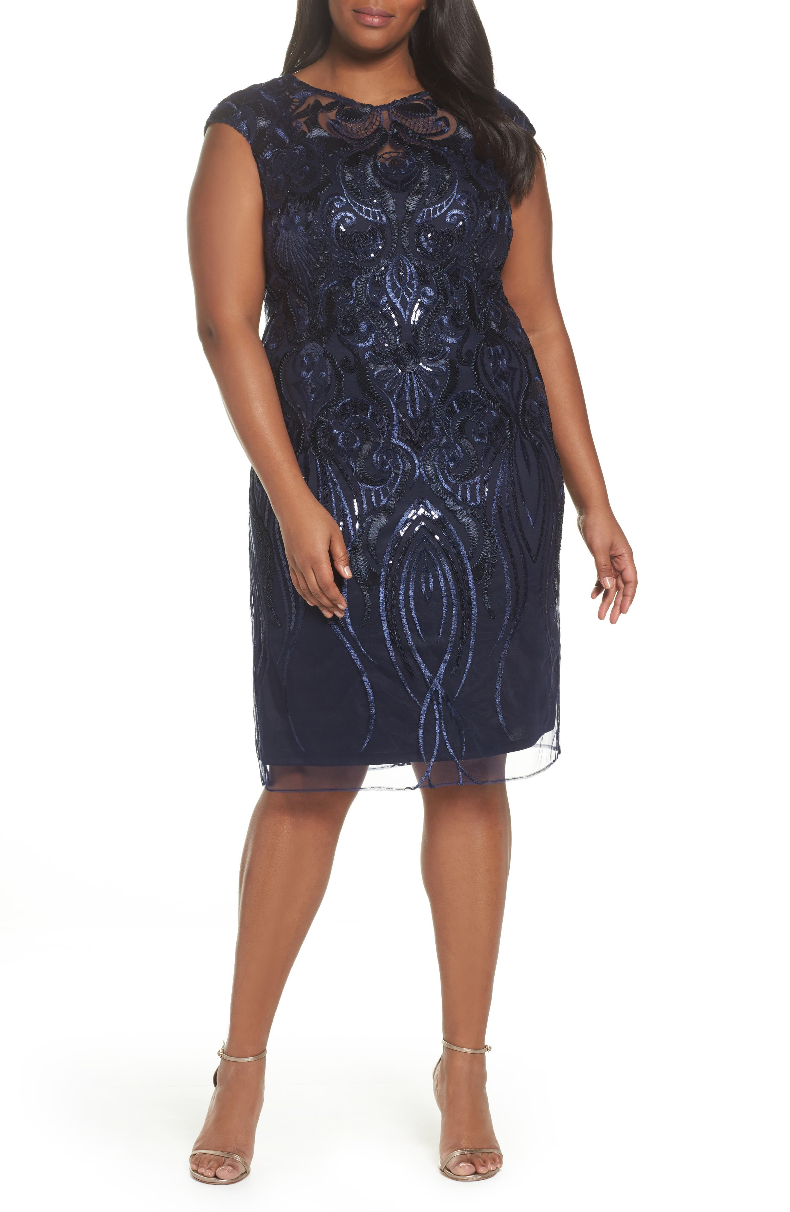Sequin Embroidered Sheath Dress,                             Main thumbnail 1, color,                             Navy