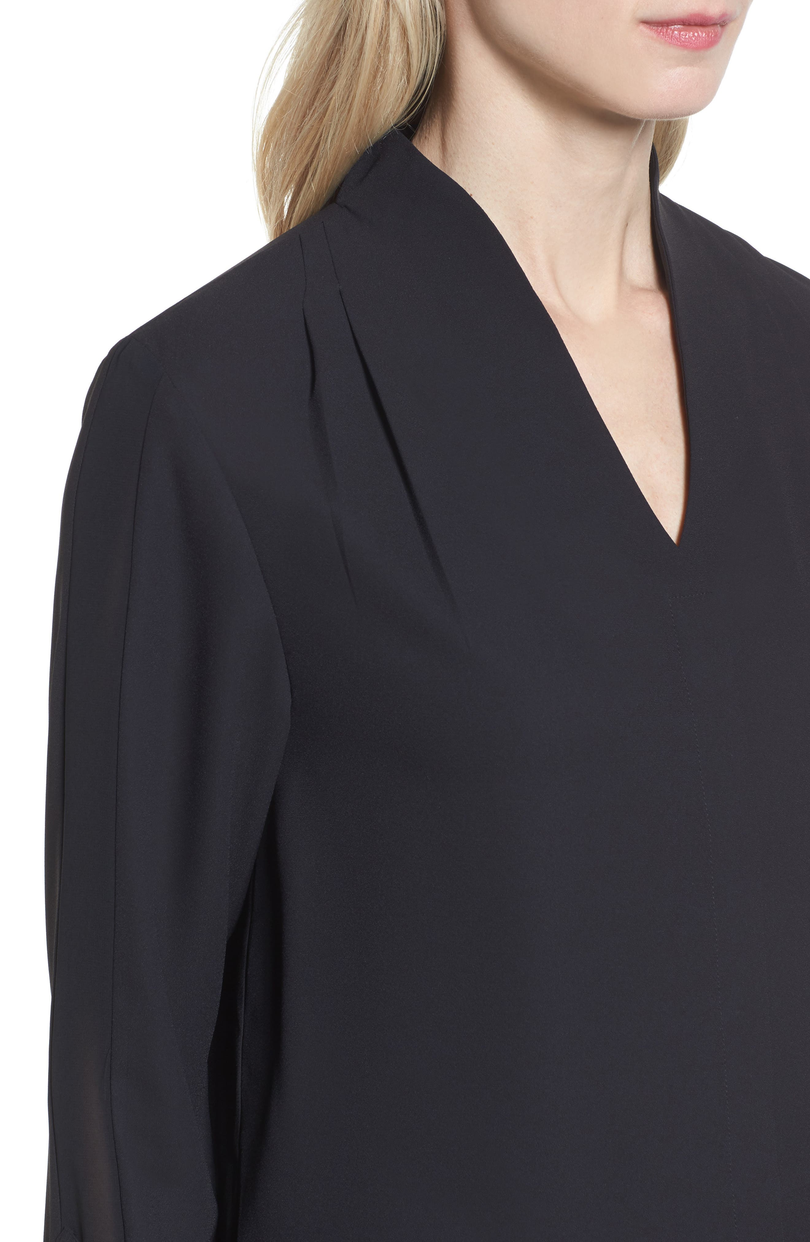Split Collar Stripe Sleeve Blouse,                             Alternate thumbnail 4, color,                             Black