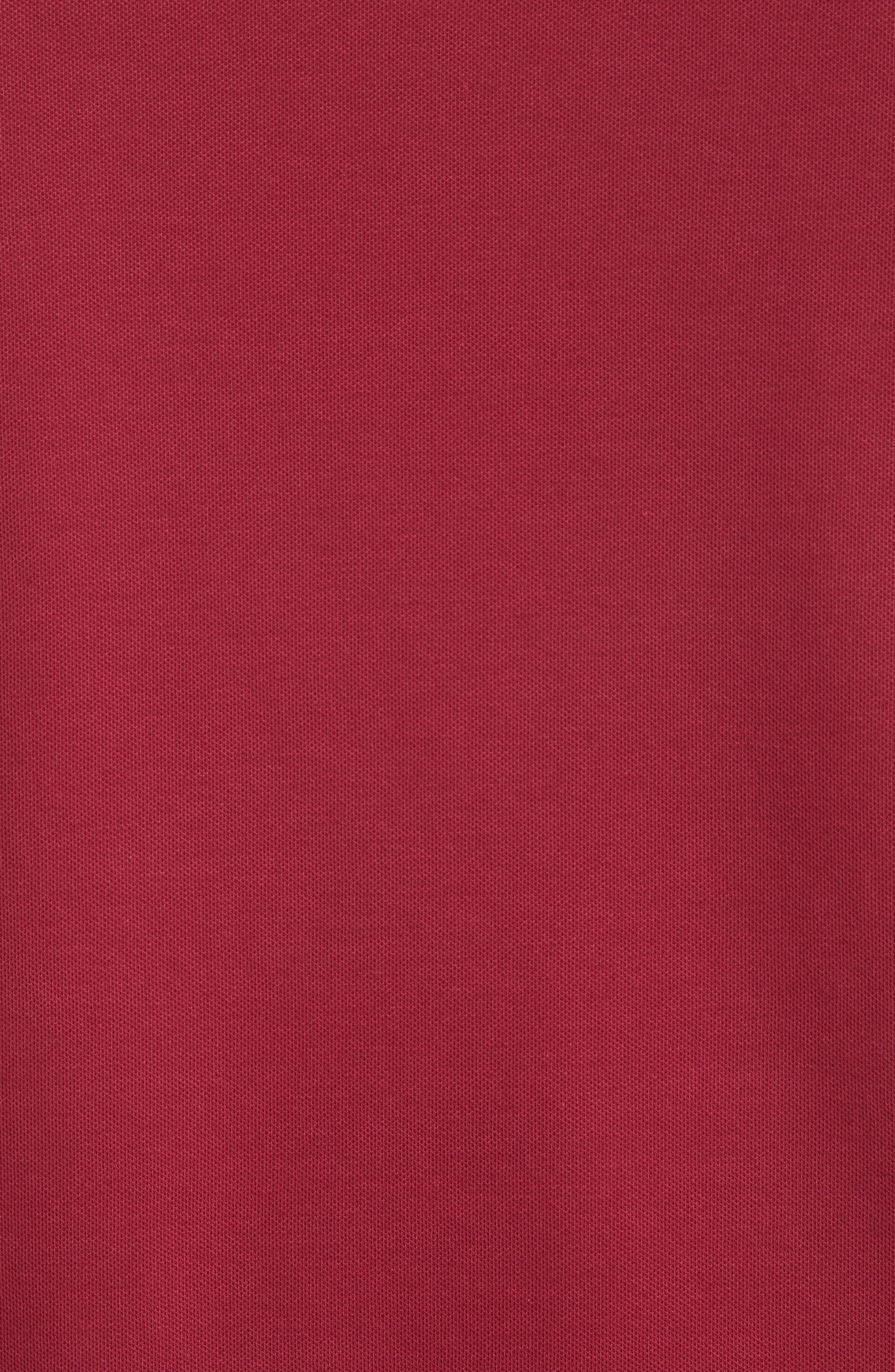 Slim Fit Piqué Polo Shirt,                             Alternate thumbnail 5, color,                             Borgogna
