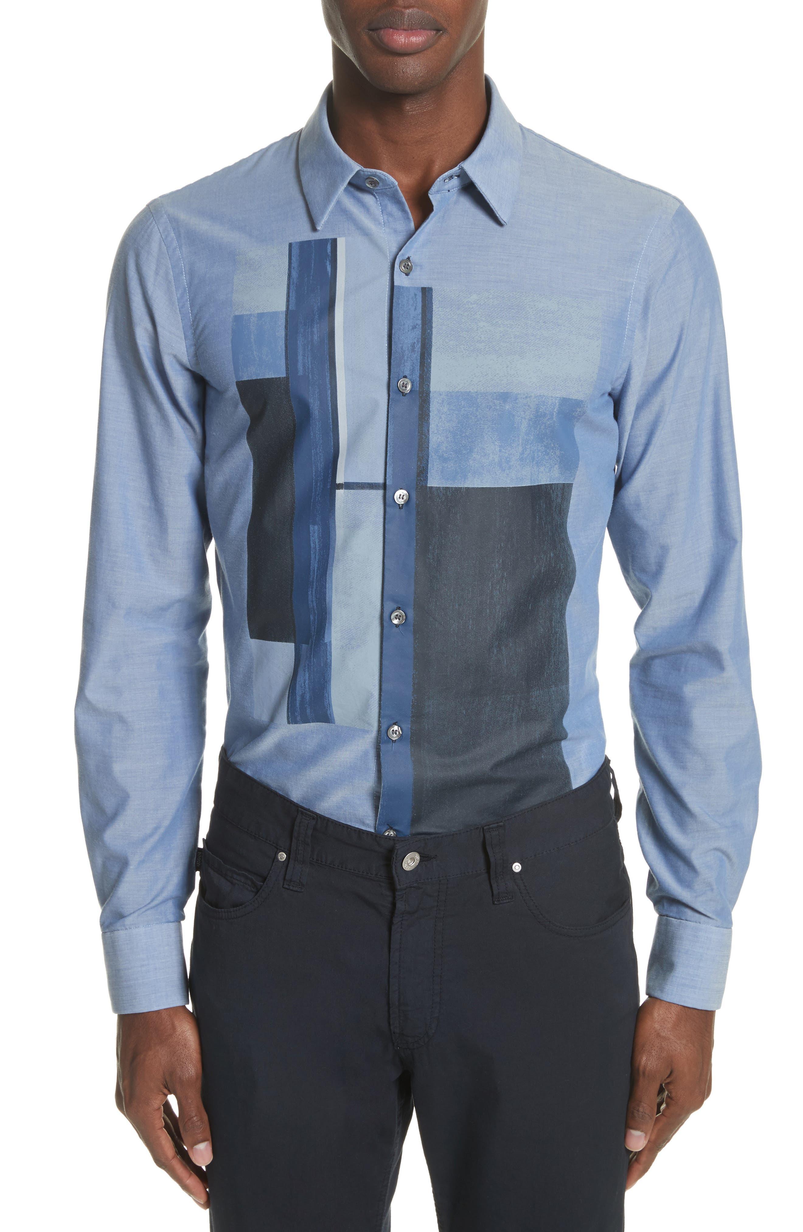 Emporio Armani Trim Fit Colorblock Sport Shirt