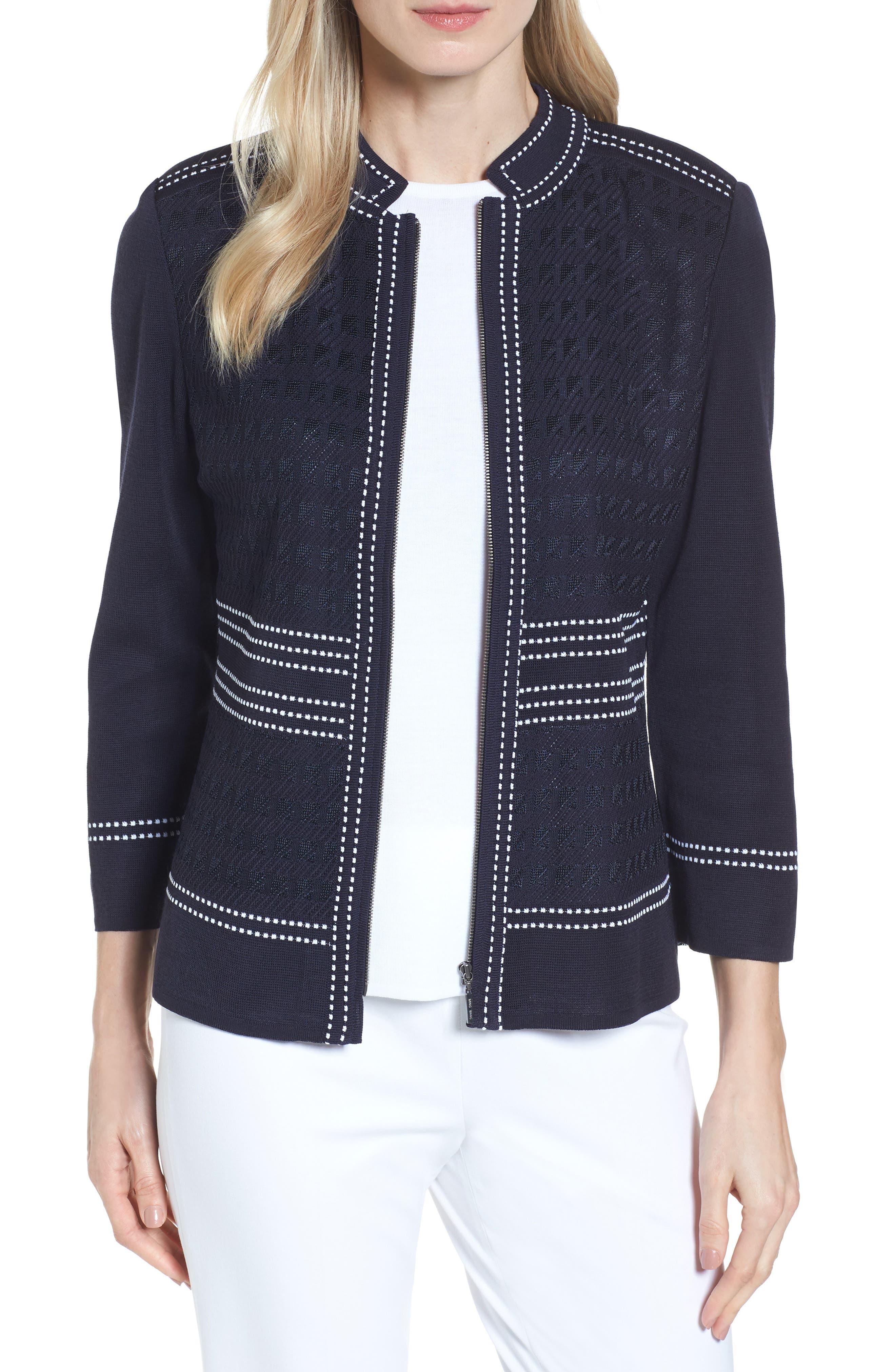 Main Image - Ming Wang Front Zip Jacquard Jacket
