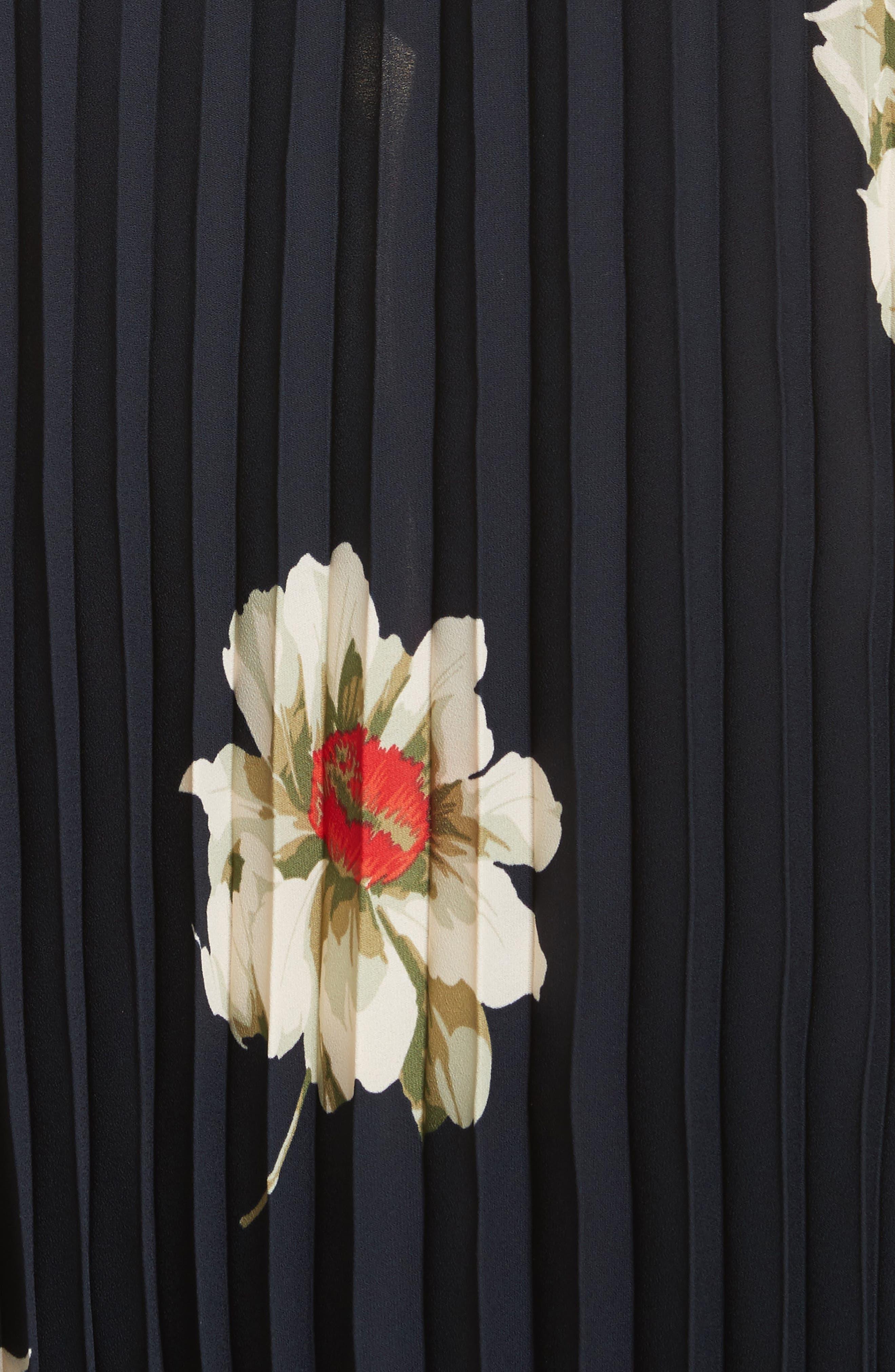 Gardenia Floral Pleated Skirt,                             Alternate thumbnail 5, color,                             Coastal
