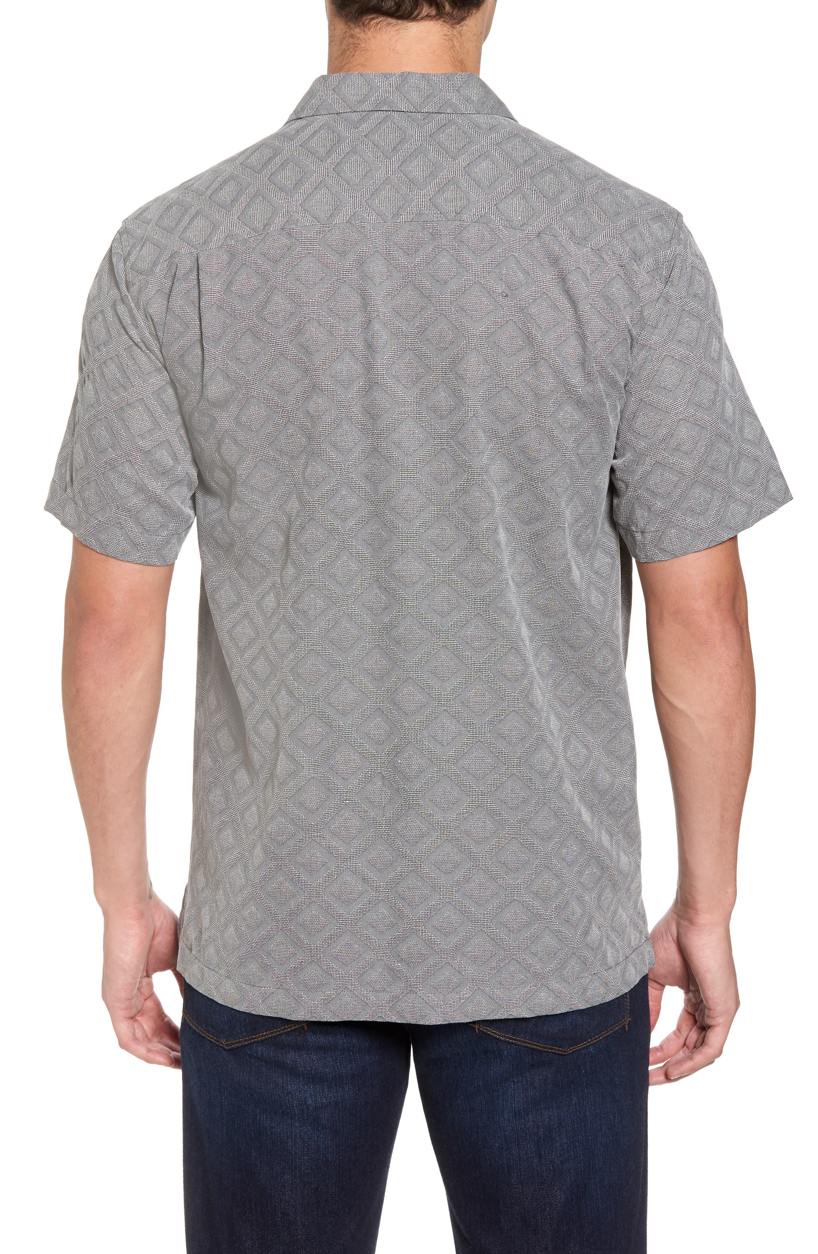 Solid Diamond Isle Silk Sport Shirt,                             Alternate thumbnail 2, color,                             Bala Shark