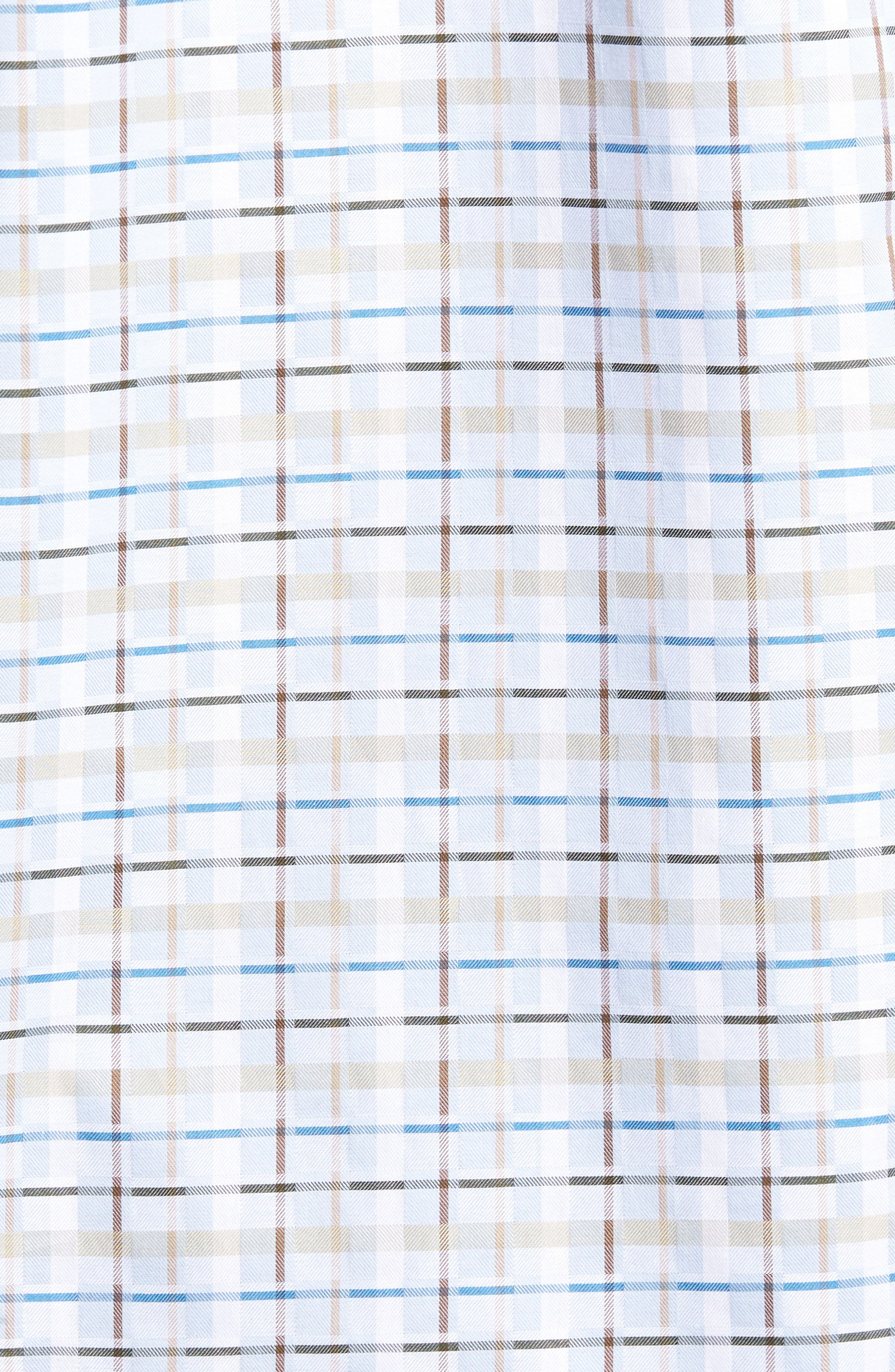 Shaped Fit Plaid Sport Shirt,                             Alternate thumbnail 5, color,                             Sky