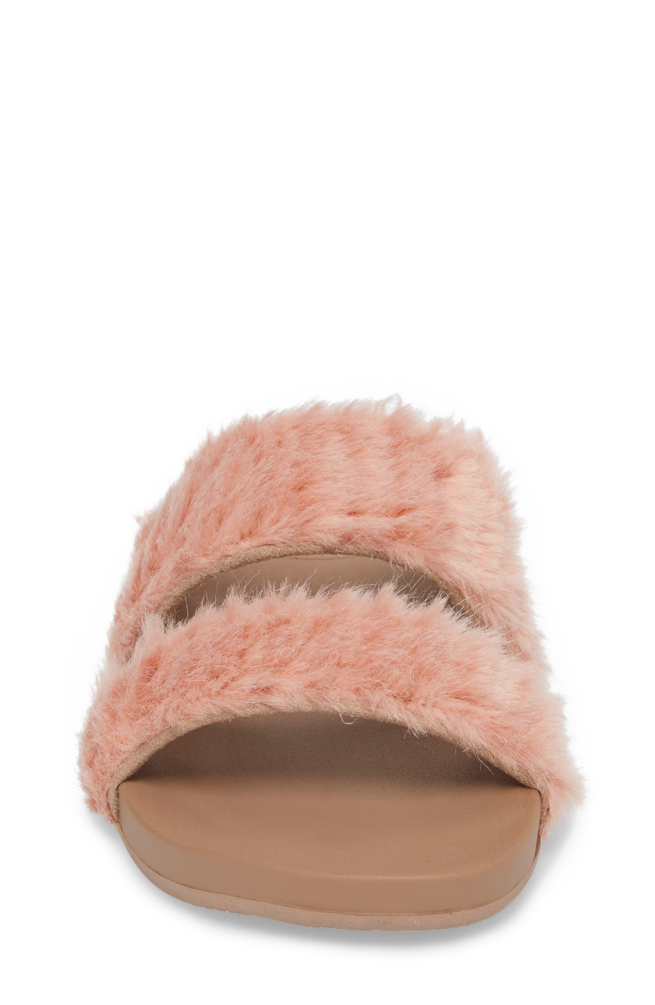 Bounce Faux Fur Double Strap Slide Sandal,                             Alternate thumbnail 4, color,                             Blush