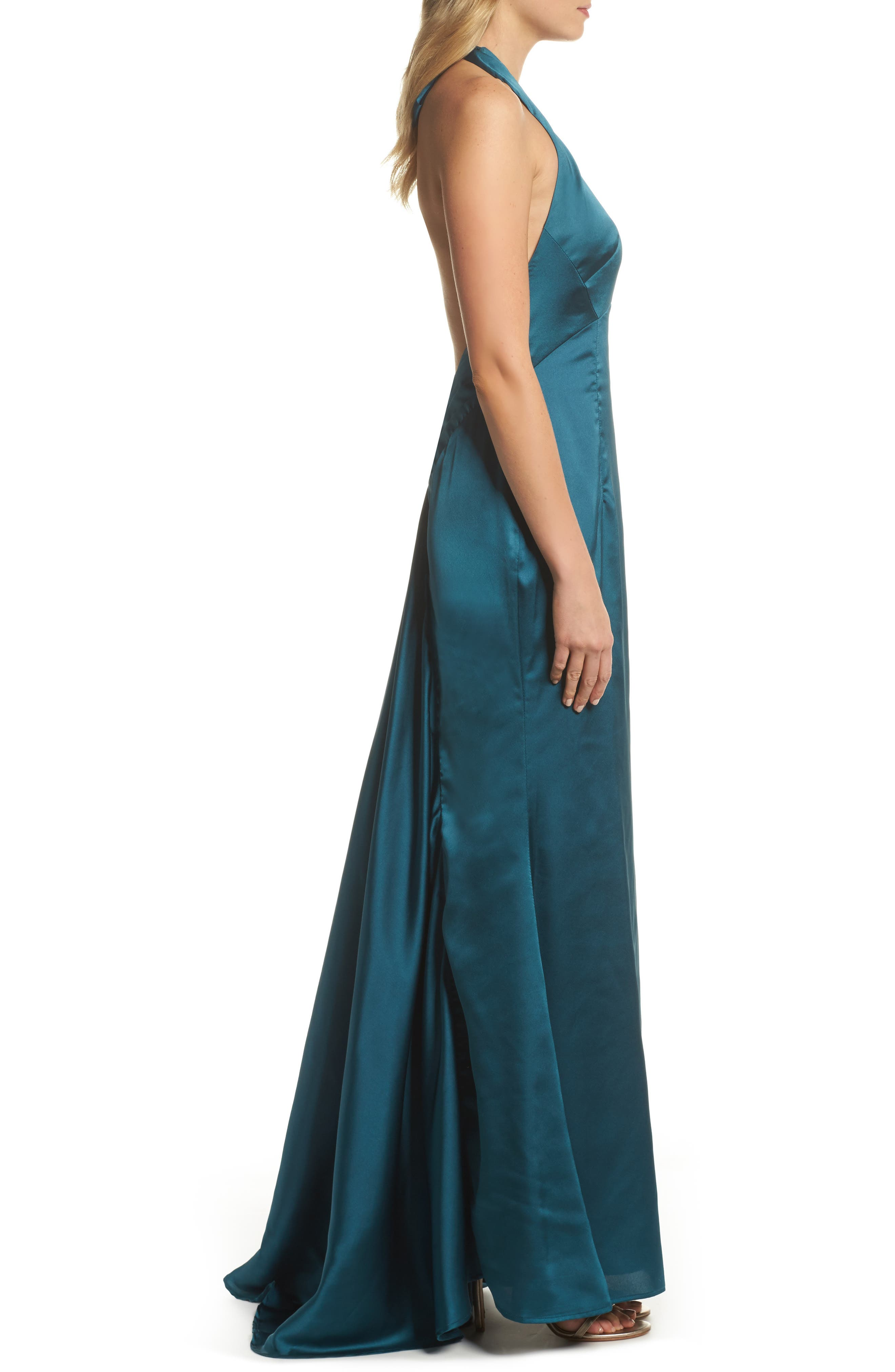 Trixie Halter Gown,                             Alternate thumbnail 3, color,                             Green