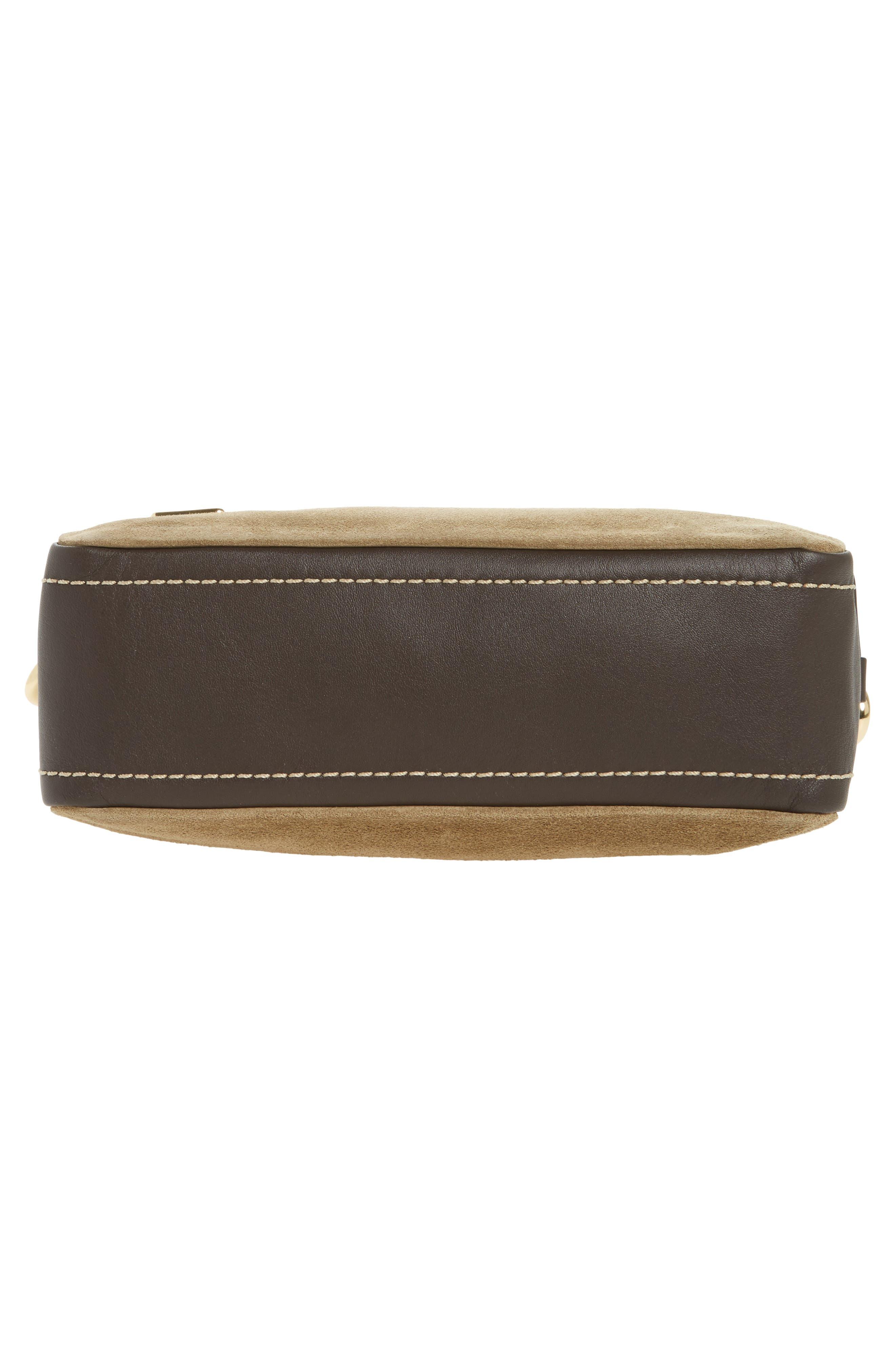 The Squeeze Suede & Leather Shoulder Bag,                             Alternate thumbnail 6, color,                             Pyrite