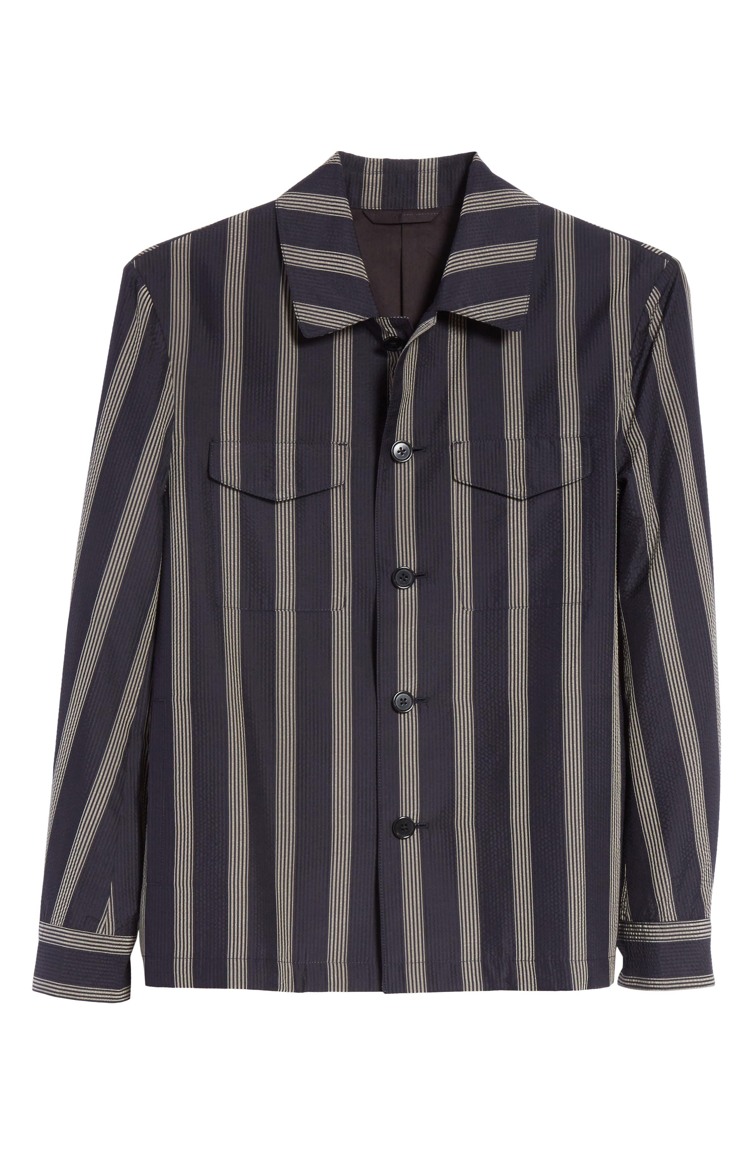 Stripe Silk Shirt,                             Alternate thumbnail 6, color,                             Black/White