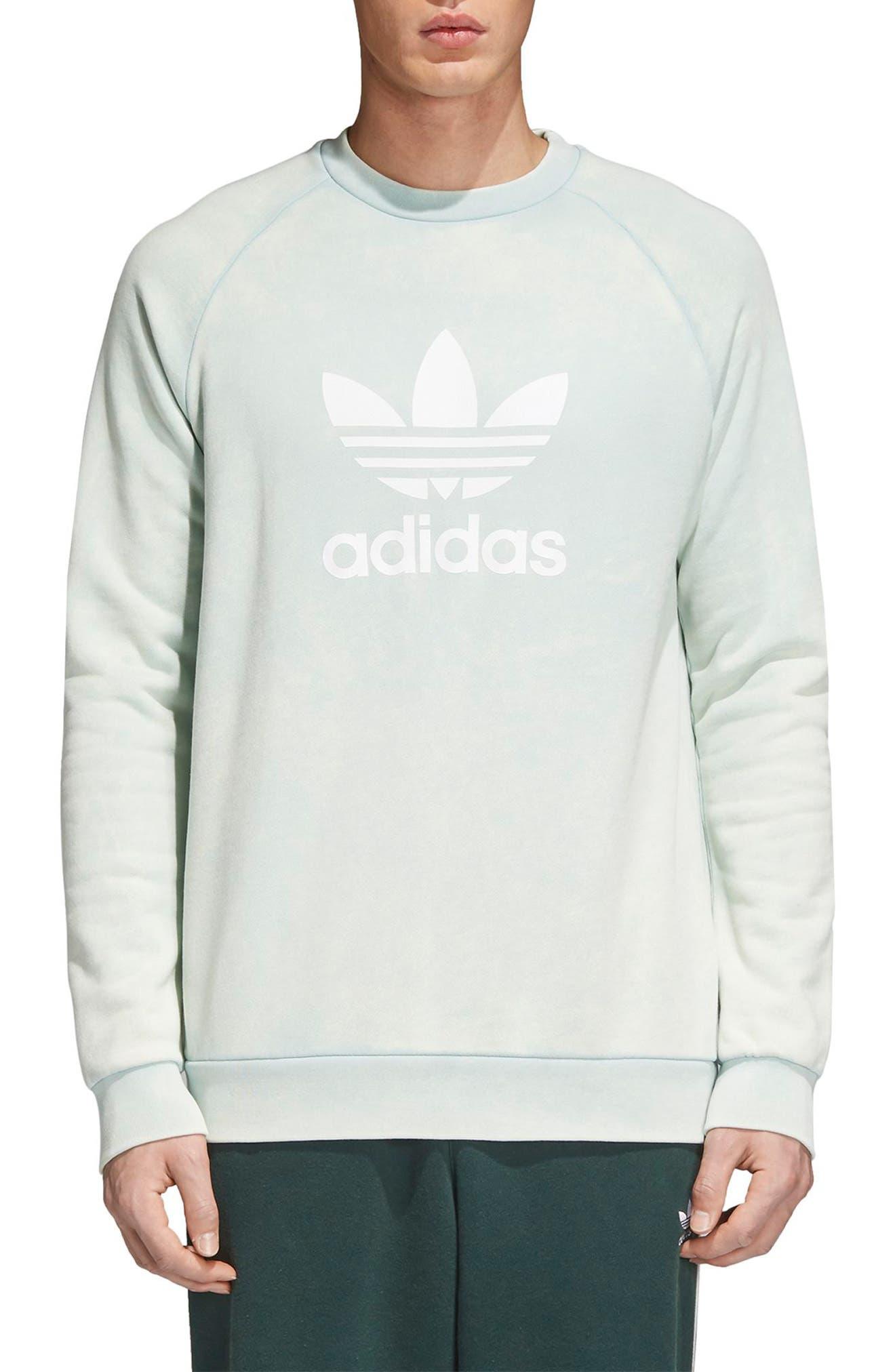 Trefoil Crewneck Sweatshirt,                         Main,                         color, Ash Green
