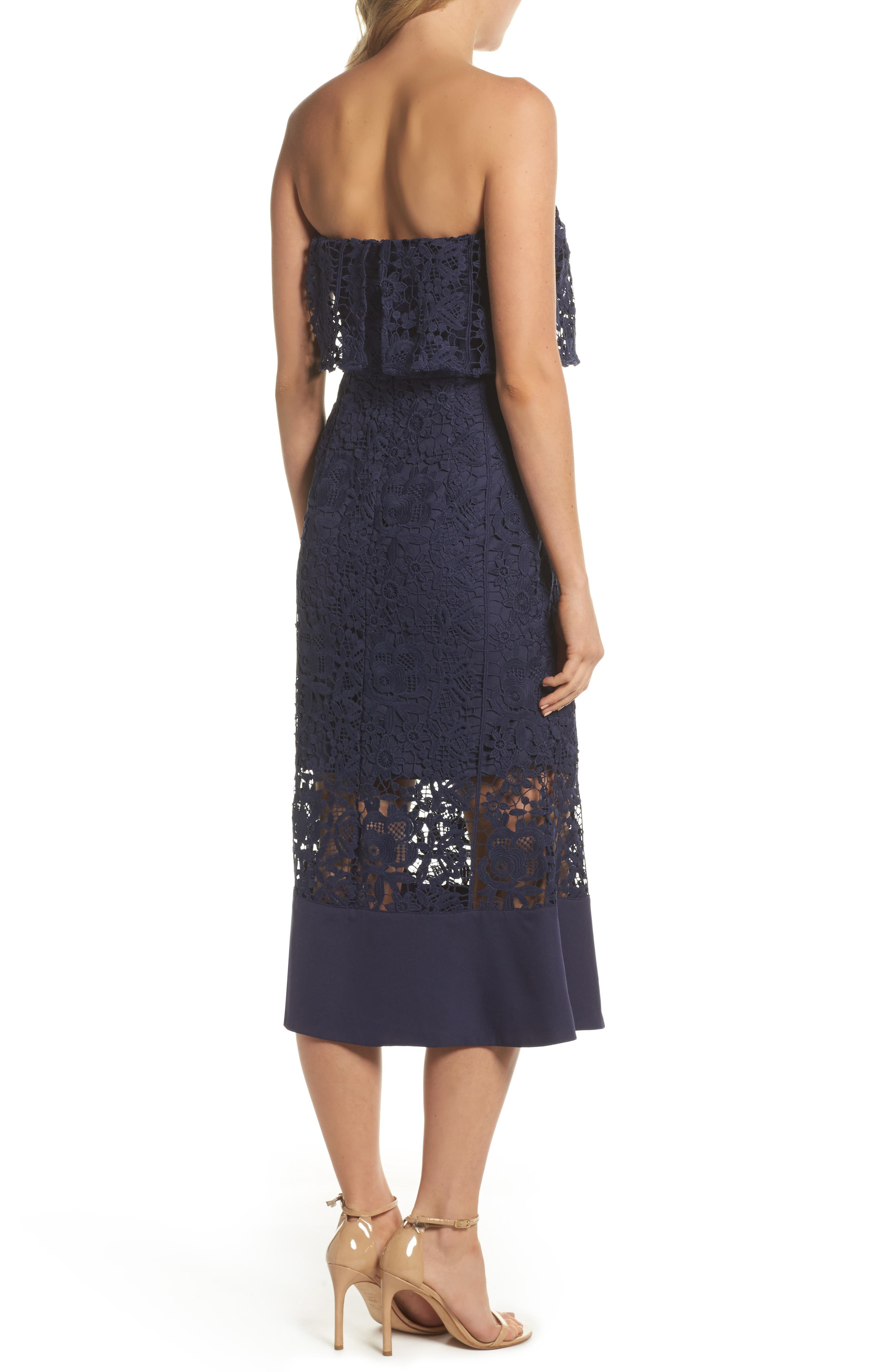 Xenia Strapless Lace Midi Dress,                             Alternate thumbnail 2, color,                             Navy