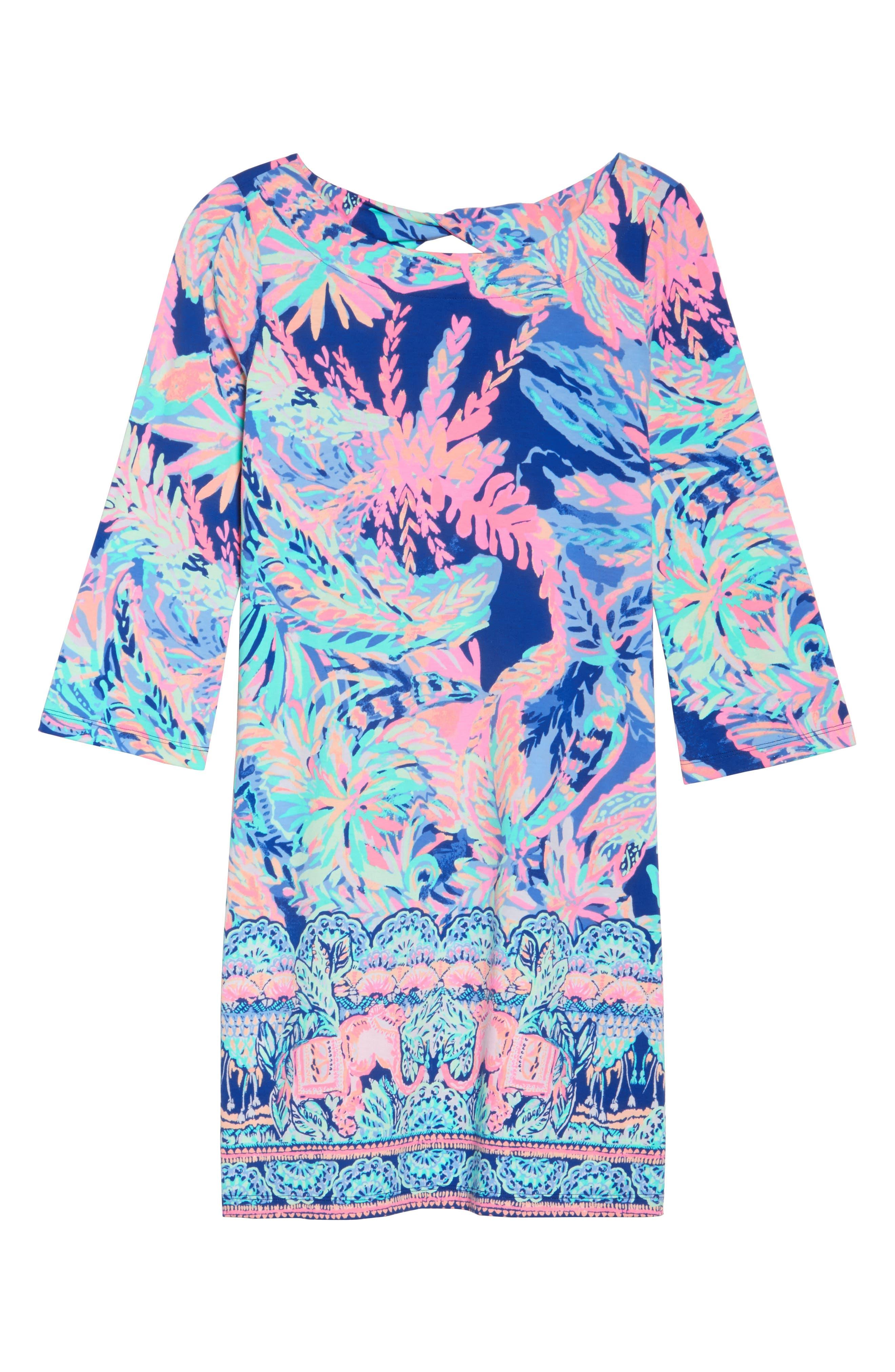 Bay Shift Dress,                             Alternate thumbnail 6, color,                             Multi Sunset Safari Engineered
