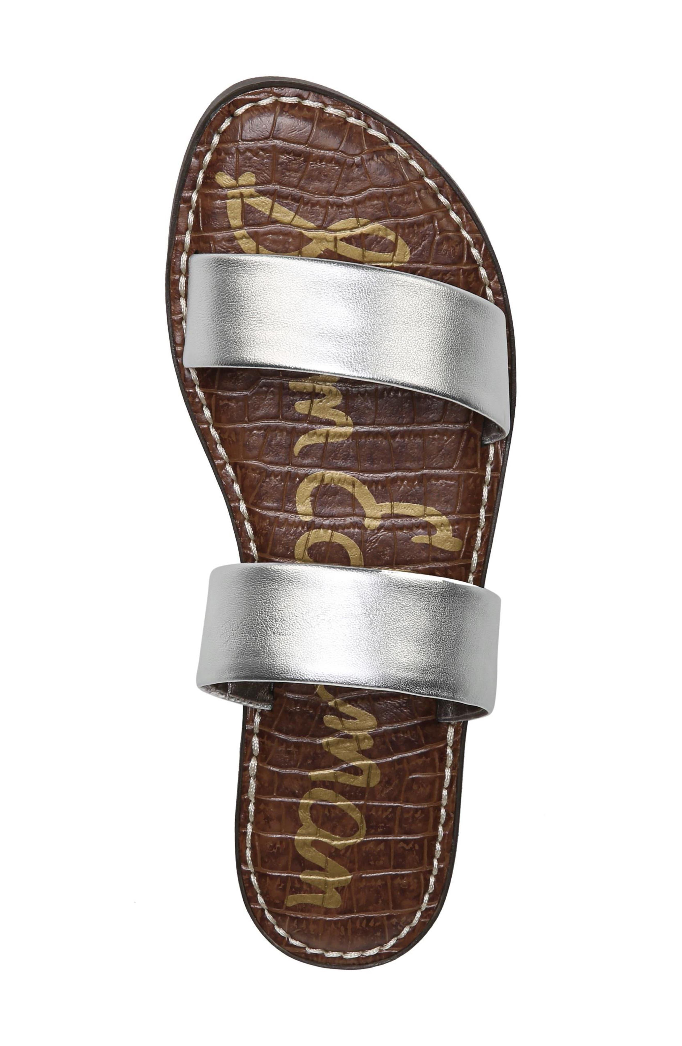 Gala Two Strap Slide Sandal,                             Alternate thumbnail 5, color,                             Silver Leather
