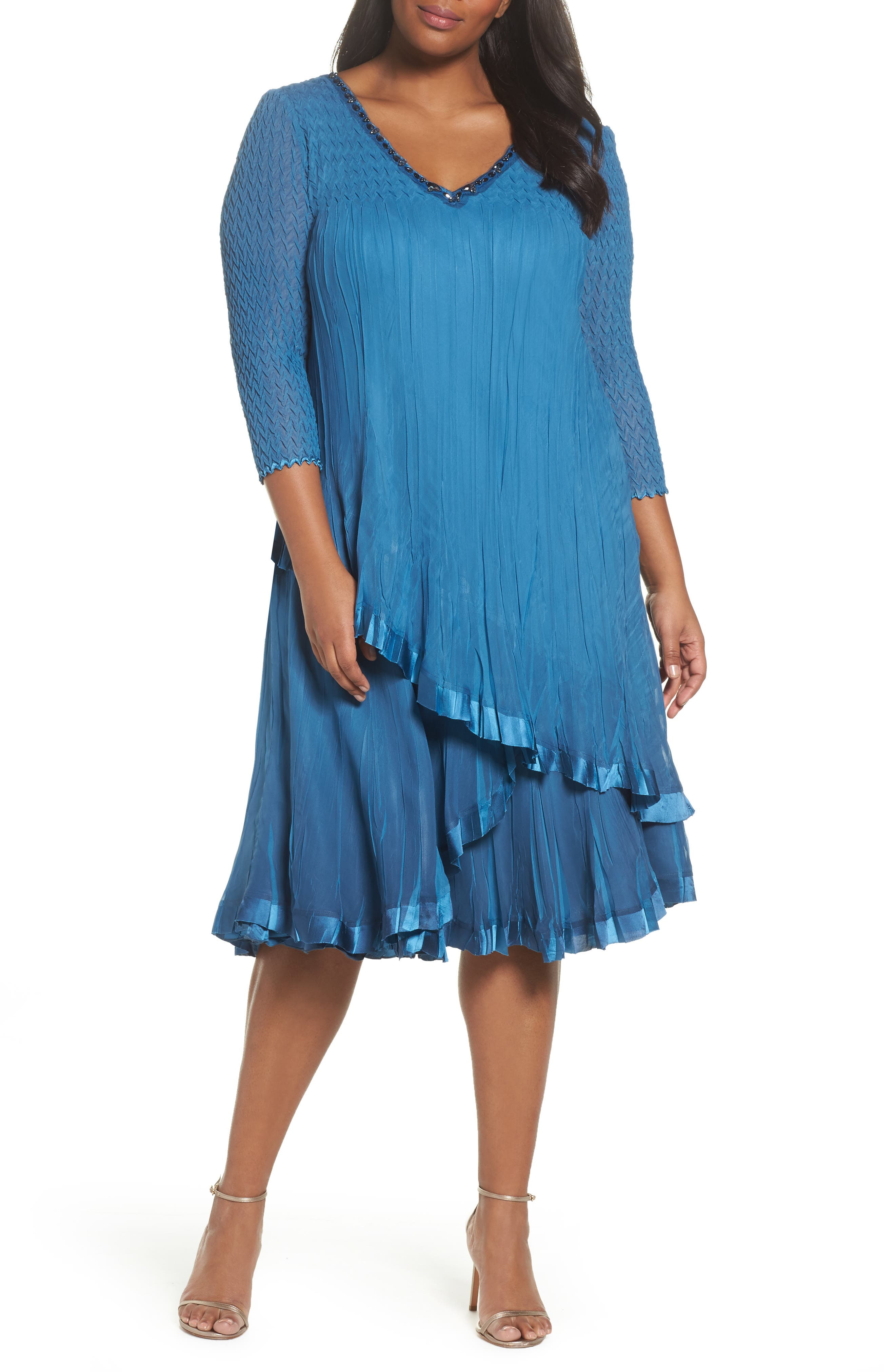Dress Tiered Chiffon & Charmeuse Dress,                         Main,                         color, Blue Dusk Night Ombre