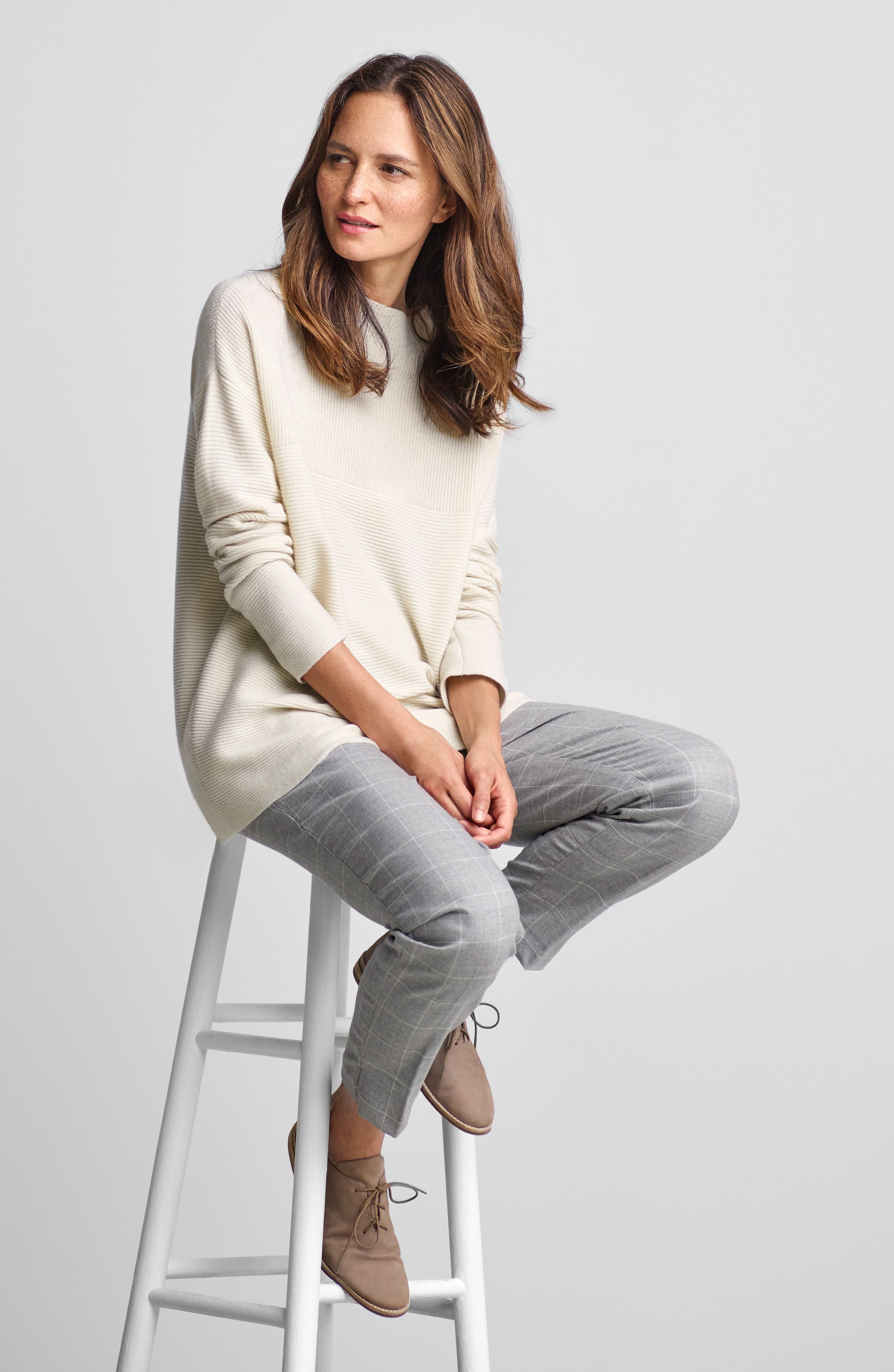 Ribbed Wool Blend Sweater,                             Alternate thumbnail 2, color,                             Soft White
