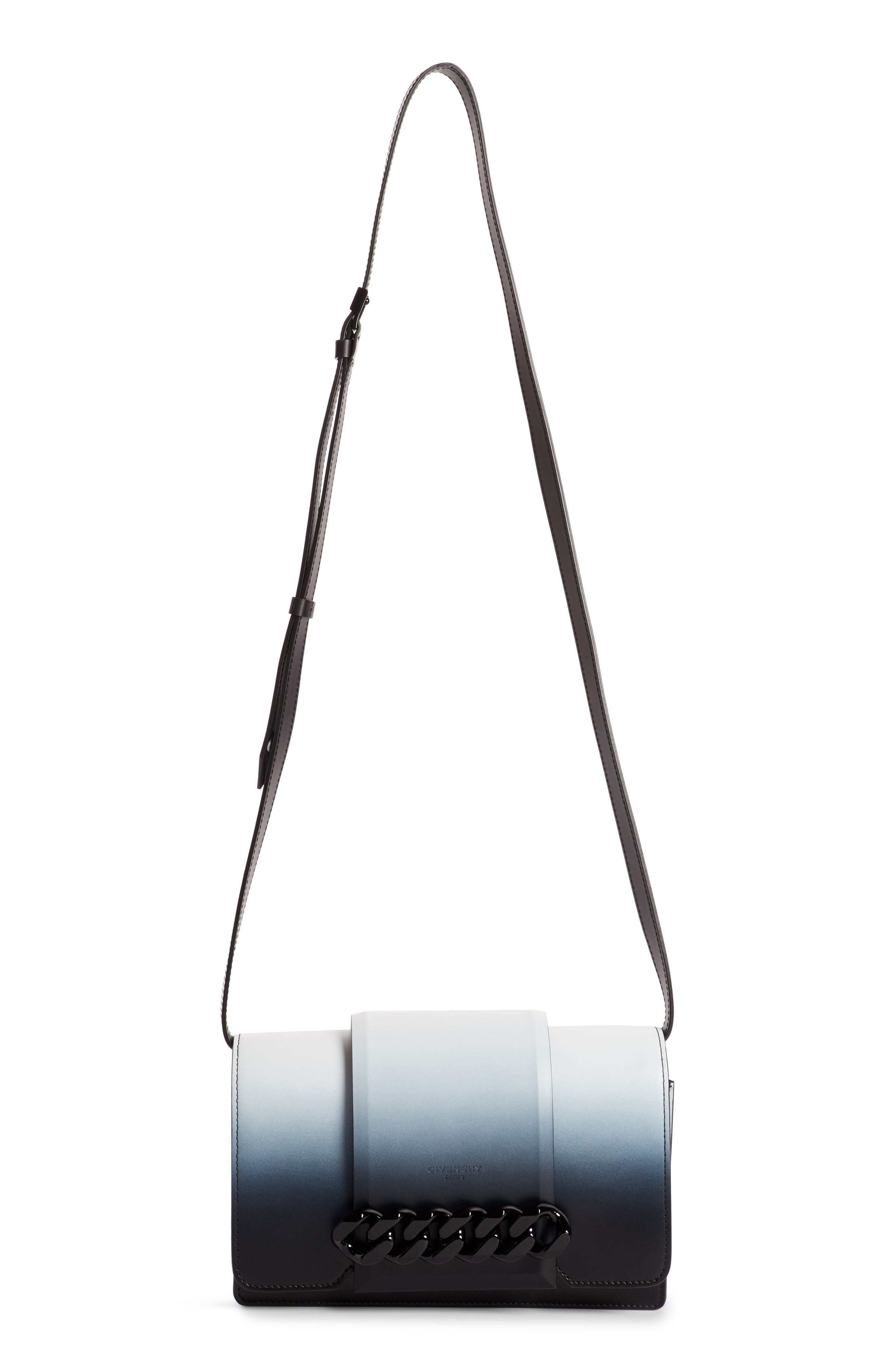 Small Infinity Dégradé Calfskin Shoulder Bag,                             Main thumbnail 1, color,                             Black/ White
