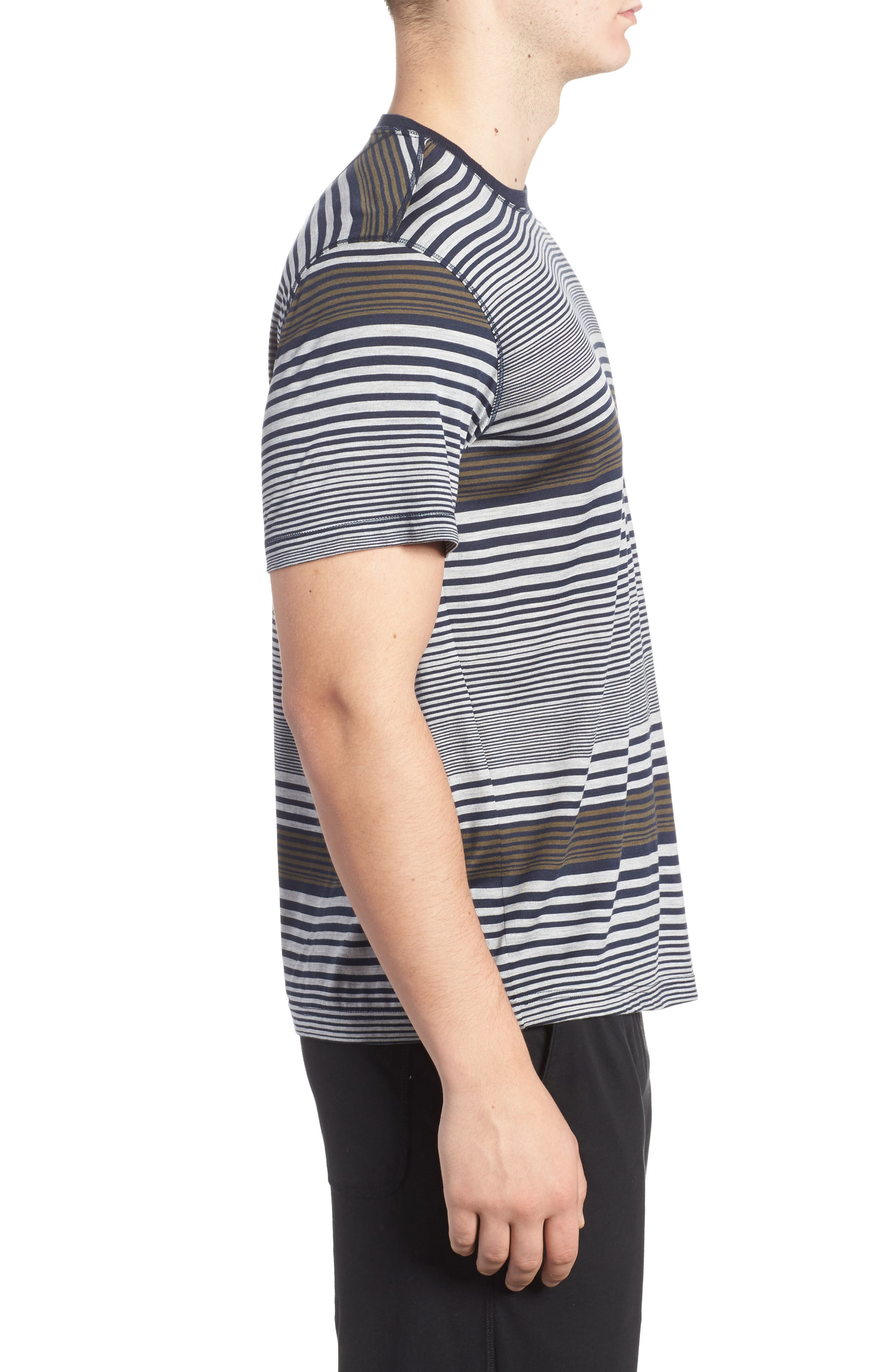 Stripe Silk & Cotton T-Shirt,                             Alternate thumbnail 3, color,                             Midnight/ Grey/ Army