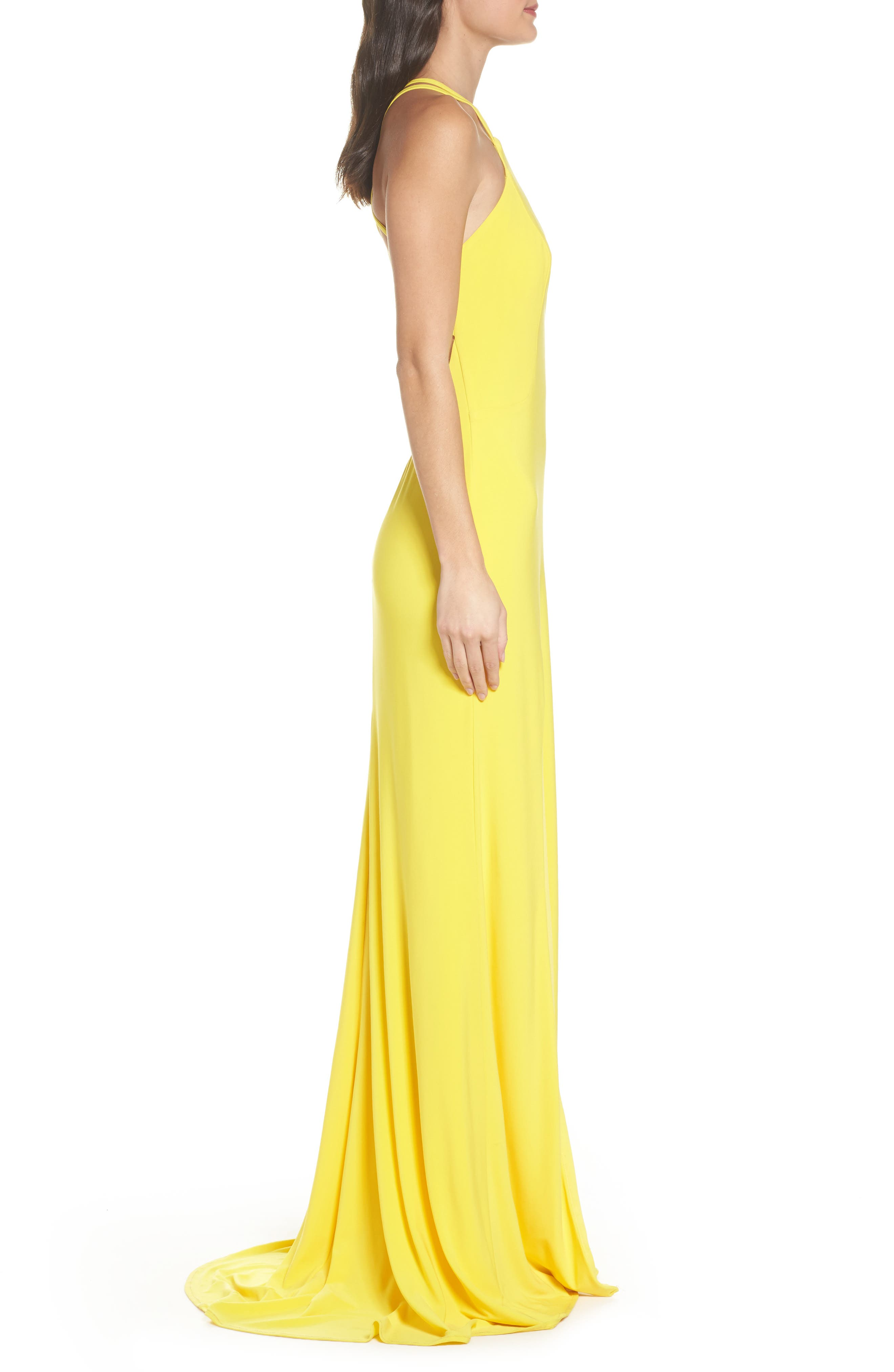 Open Back Jersey Halter Gown,                             Alternate thumbnail 3, color,                             Yellow