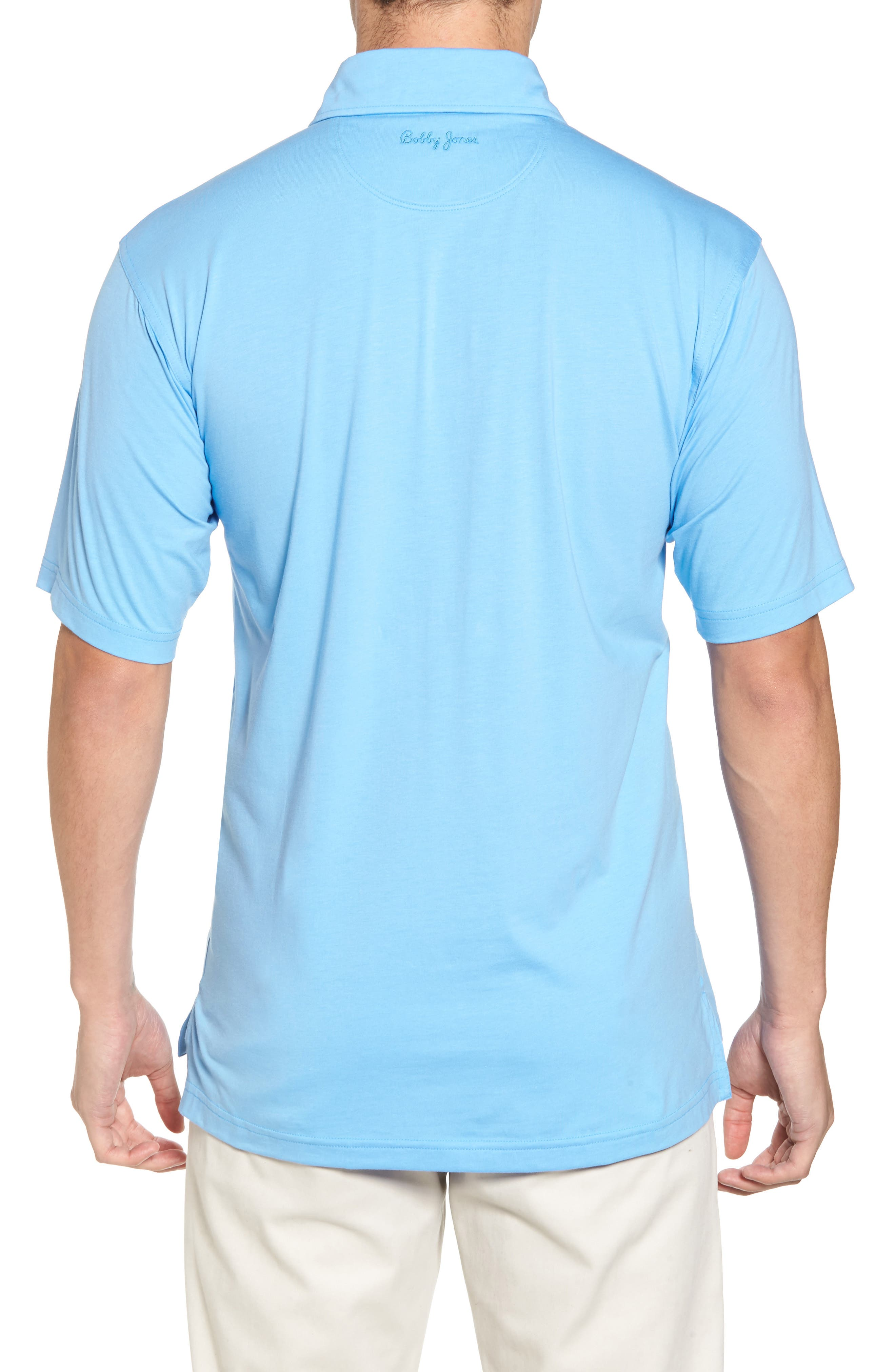 Liquid Cotton Stretch Jersey Polo,                             Alternate thumbnail 2, color,                             Sky Blue