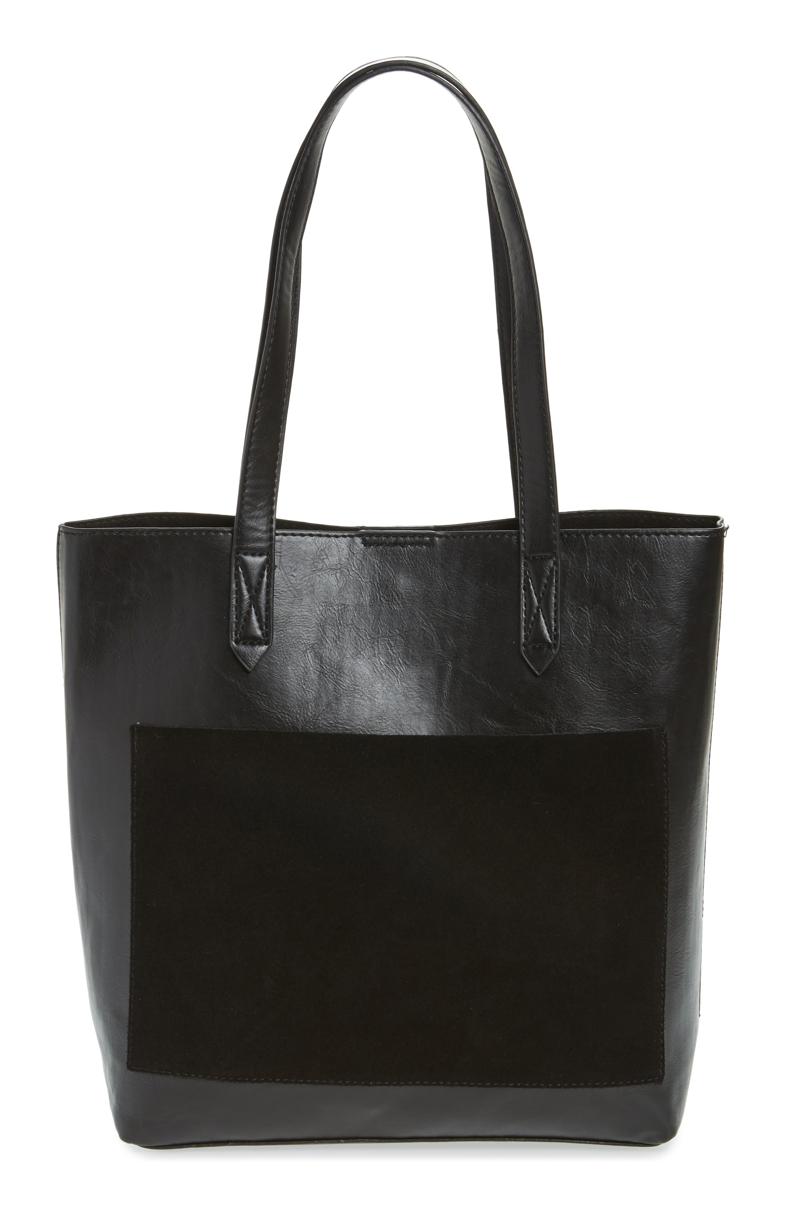Trish Faux Leather Tote,                             Main thumbnail 1, color,                             Black